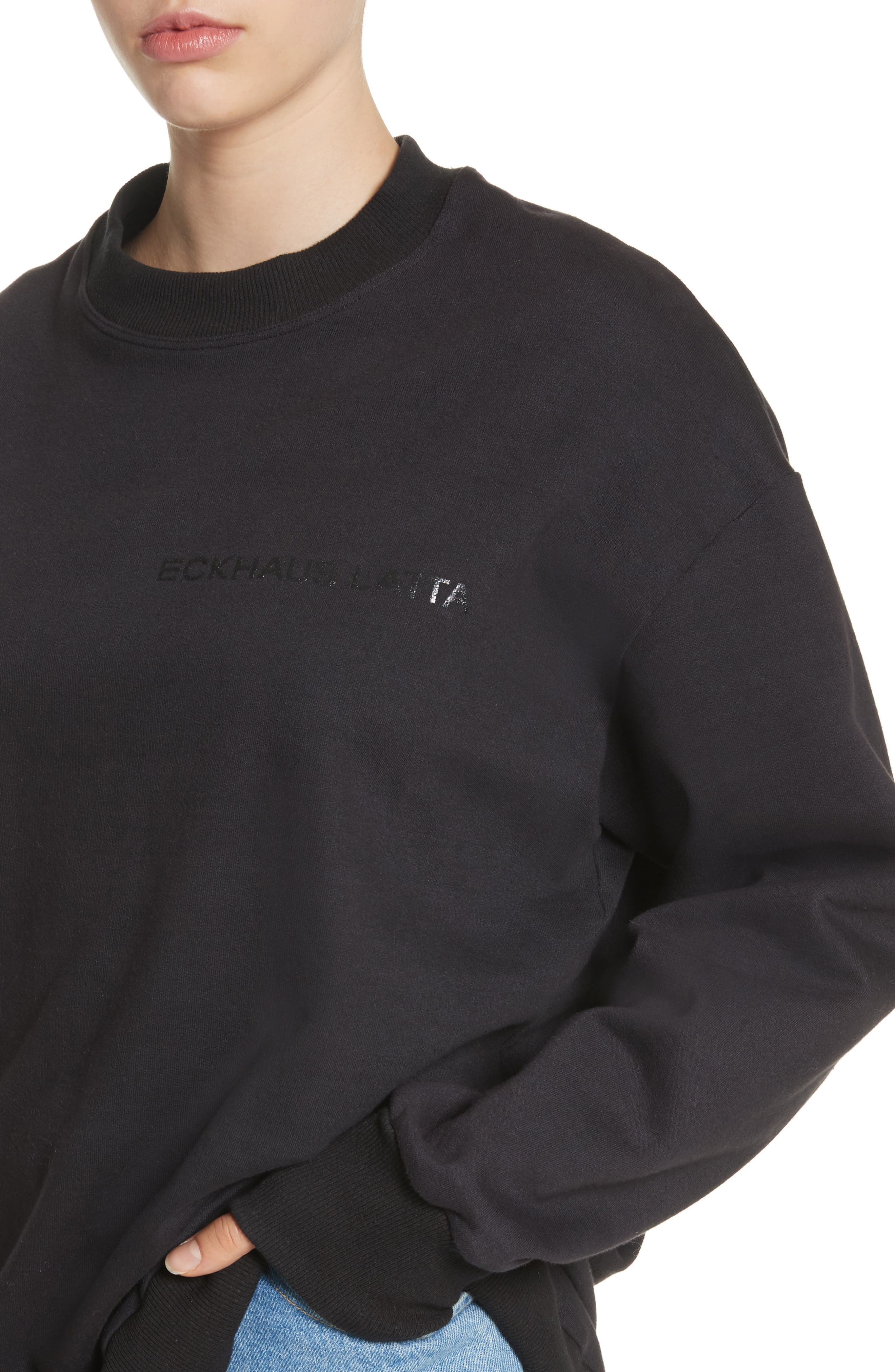 Relaxed Fit Sweatshirt,                             Alternate thumbnail 4, color,                             Black