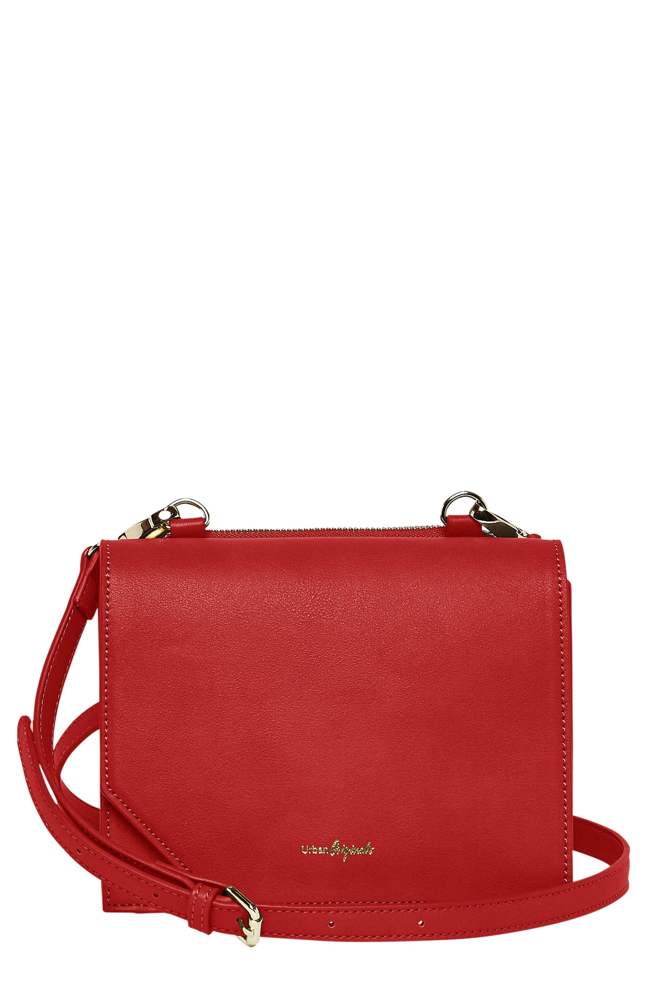 Shining Star Vegan Leather Crossbody Bag,                             Main thumbnail 1, color,                             Red