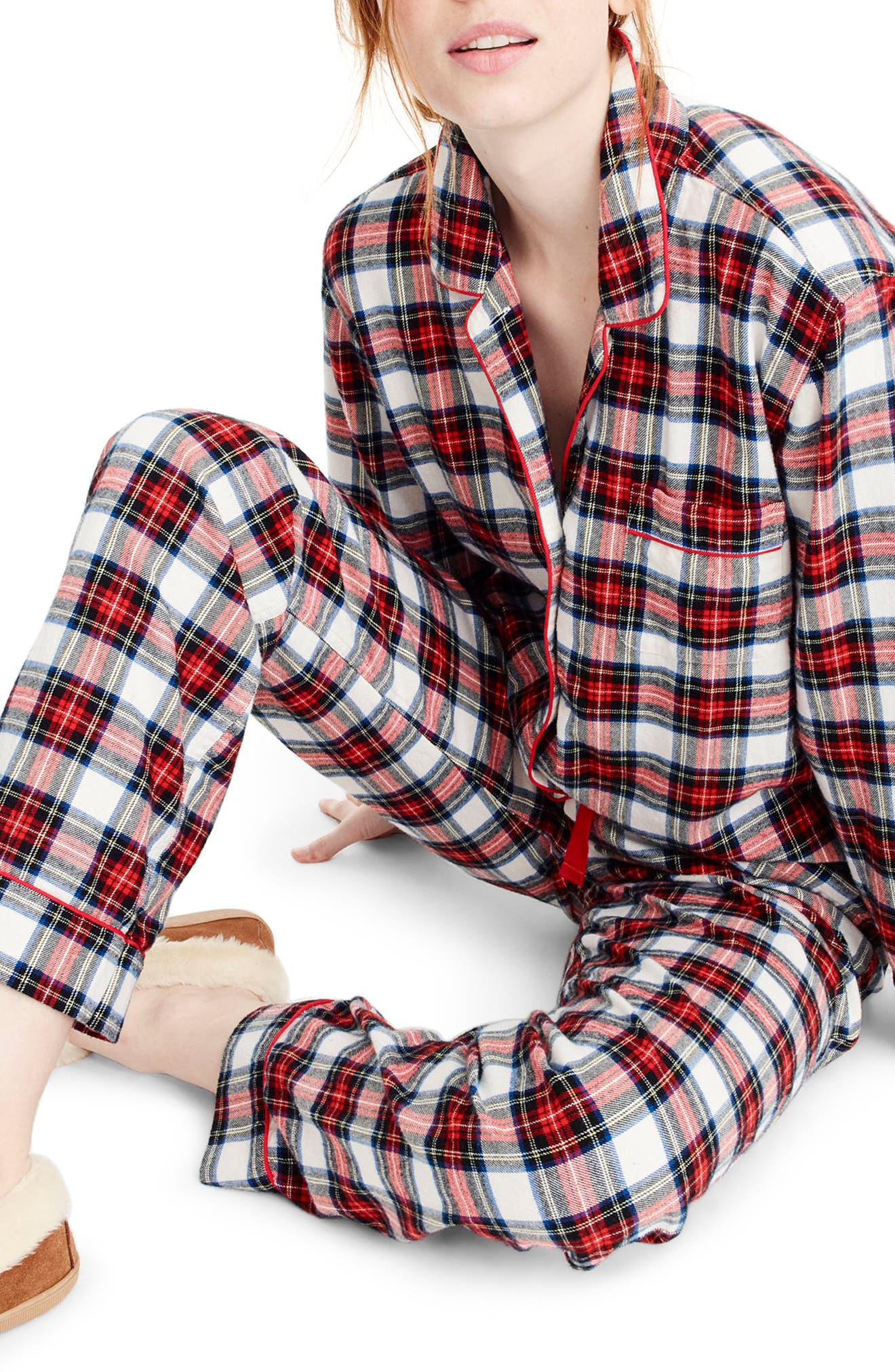 Whiteout Plaid Flannel Pajamas,                             Alternate thumbnail 2, color,                             Red Navy