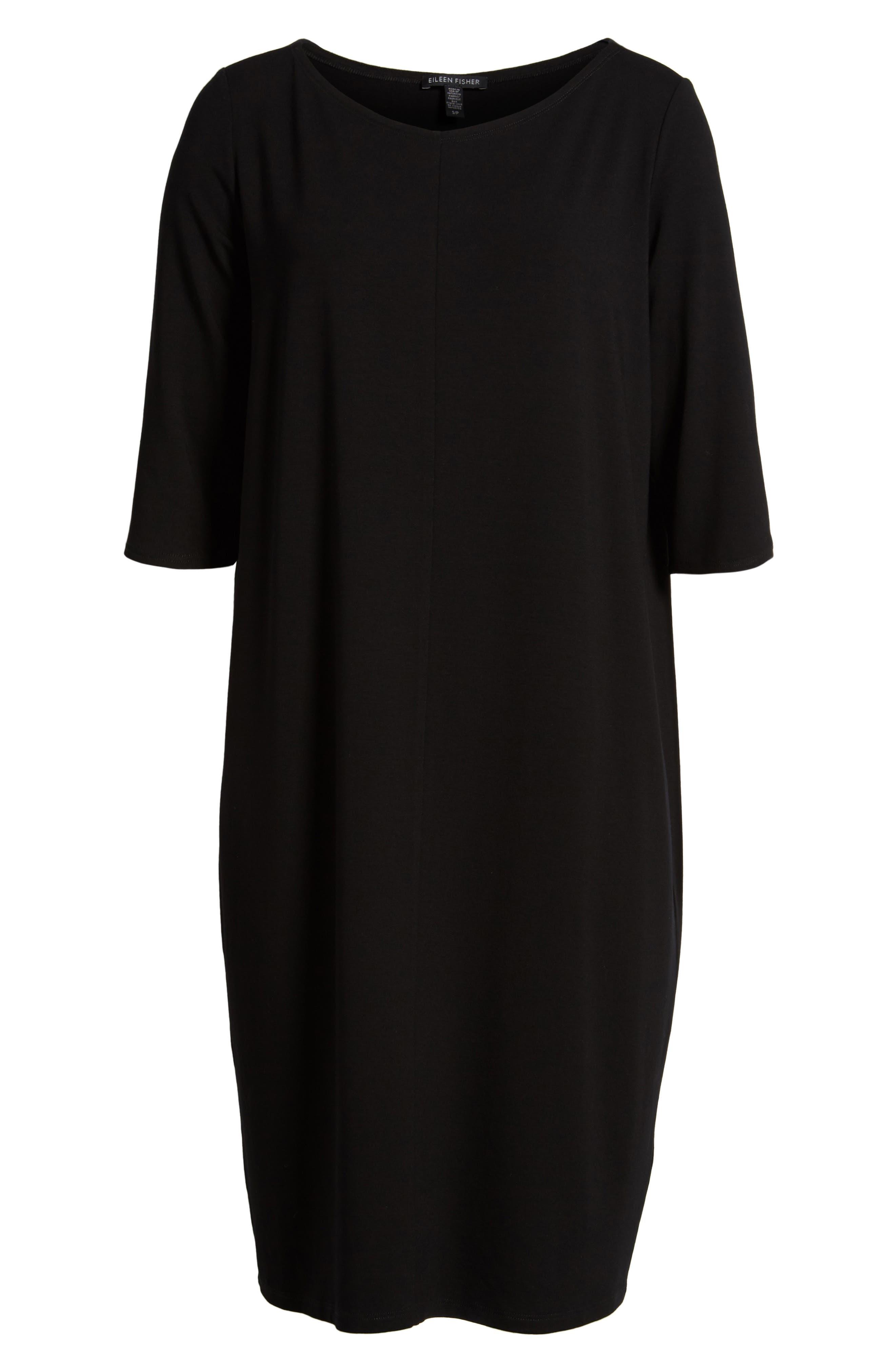 Jersey Shift Dress,                             Alternate thumbnail 6, color,                             Black