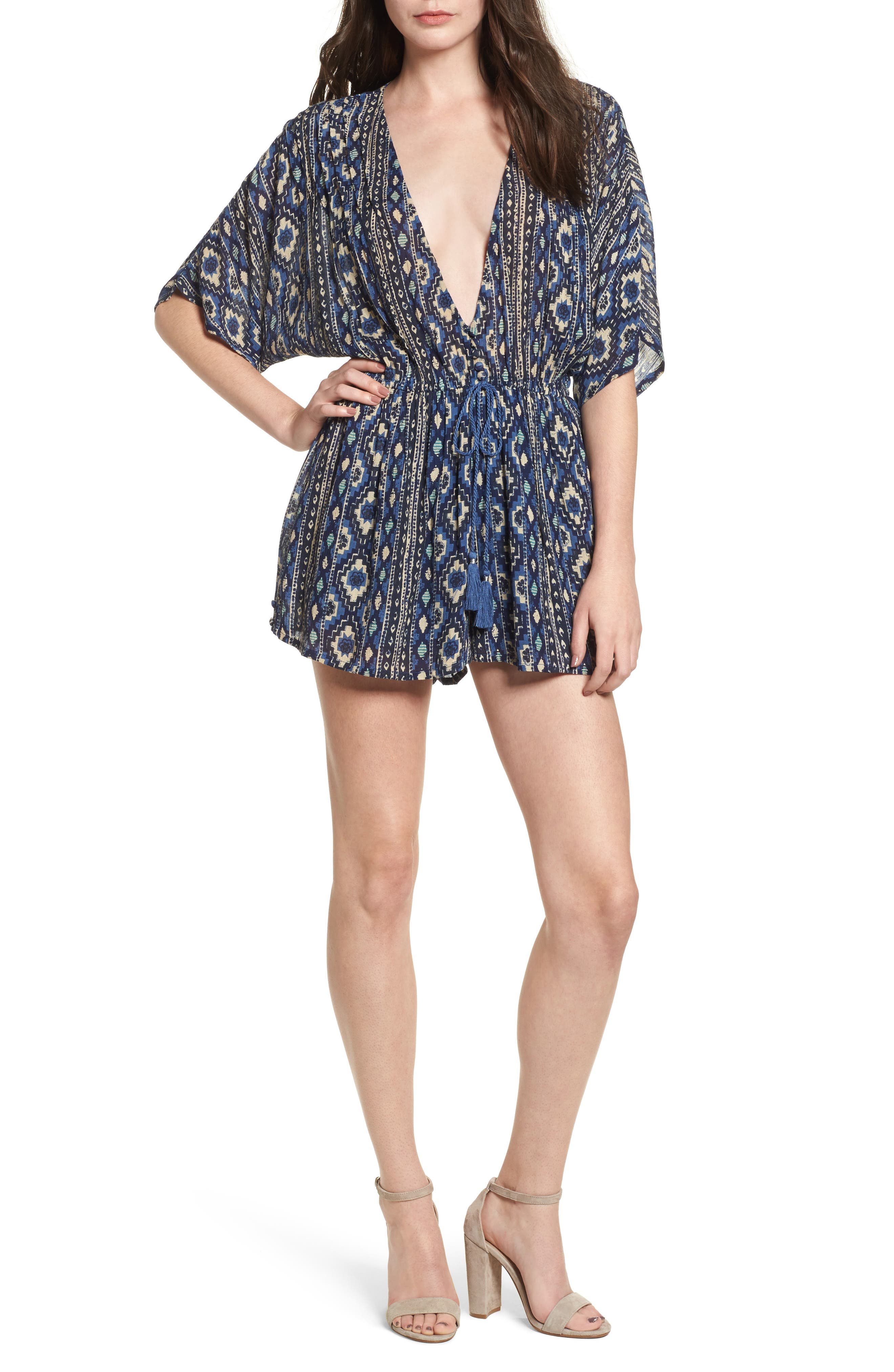 Main Image - Lost + Wander Deep V-Neck Cancun Romper