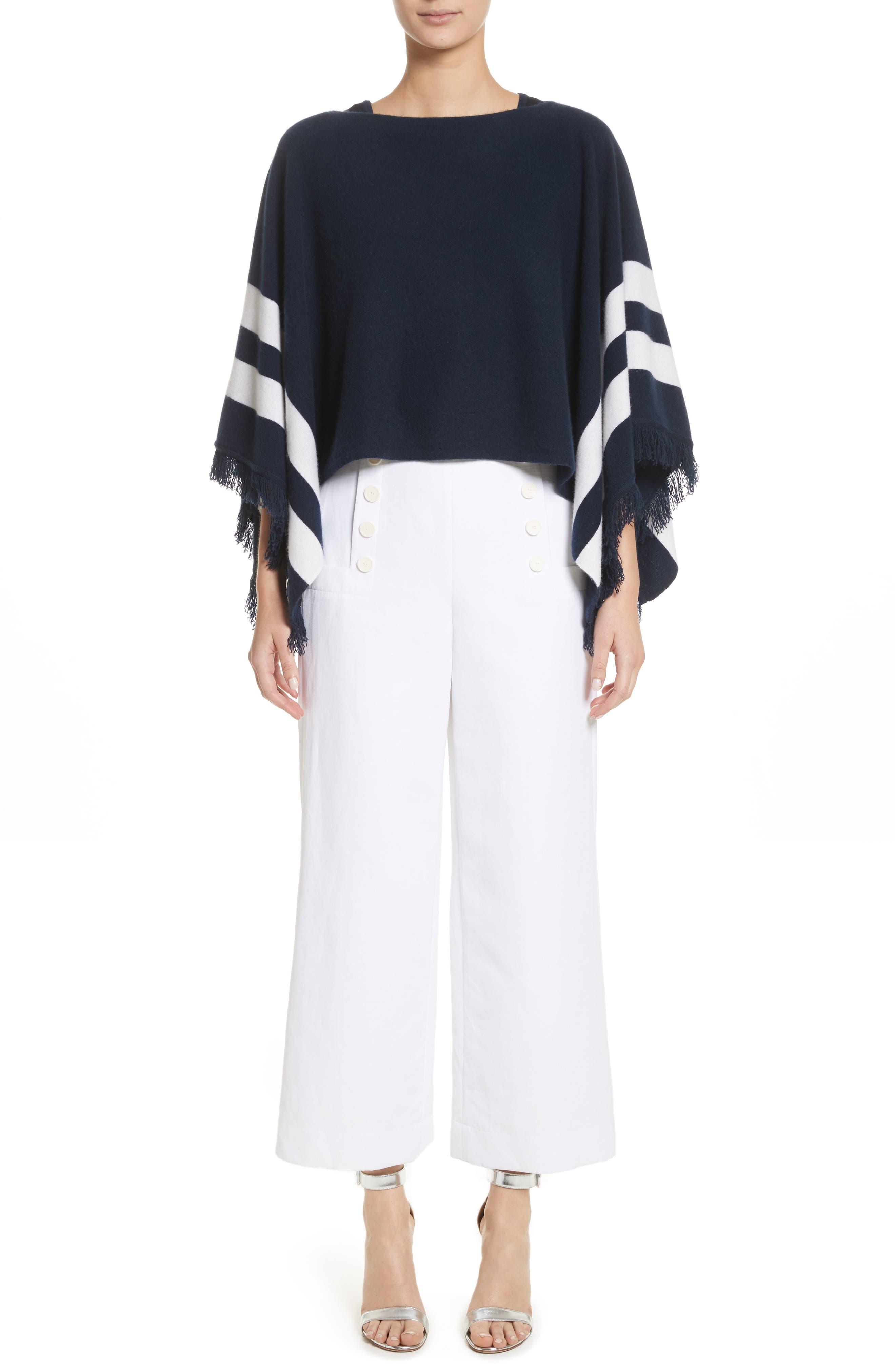 Cotton & Linen Crop Wide Leg Pants,                             Alternate thumbnail 9, color,                             Bianco