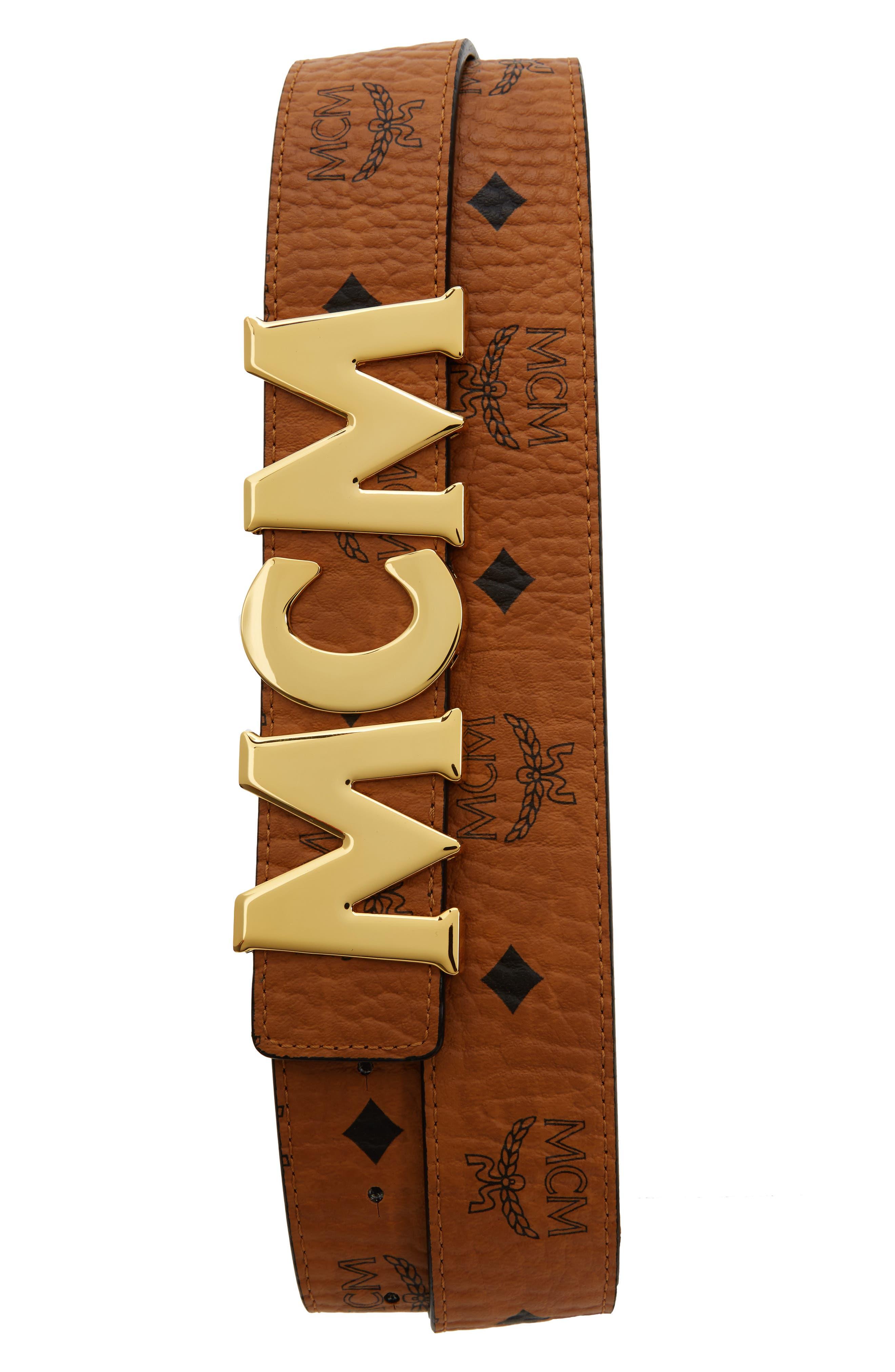 Letter Coated Canvas Belt,                         Main,                         color, Cognac