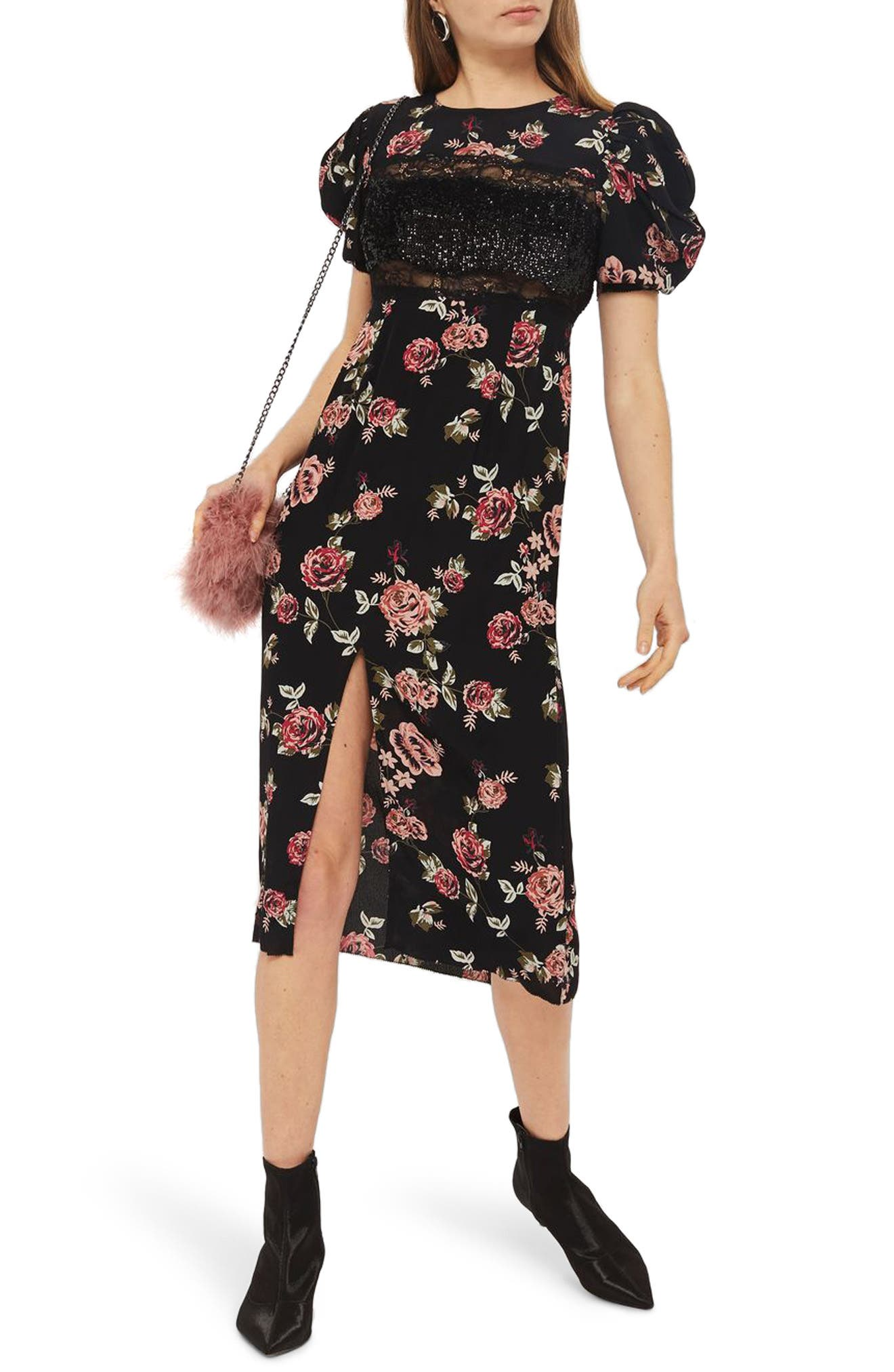 Sequined Floral Puff Sleeve Midi Dress,                             Main thumbnail 1, color,                             Black Multi