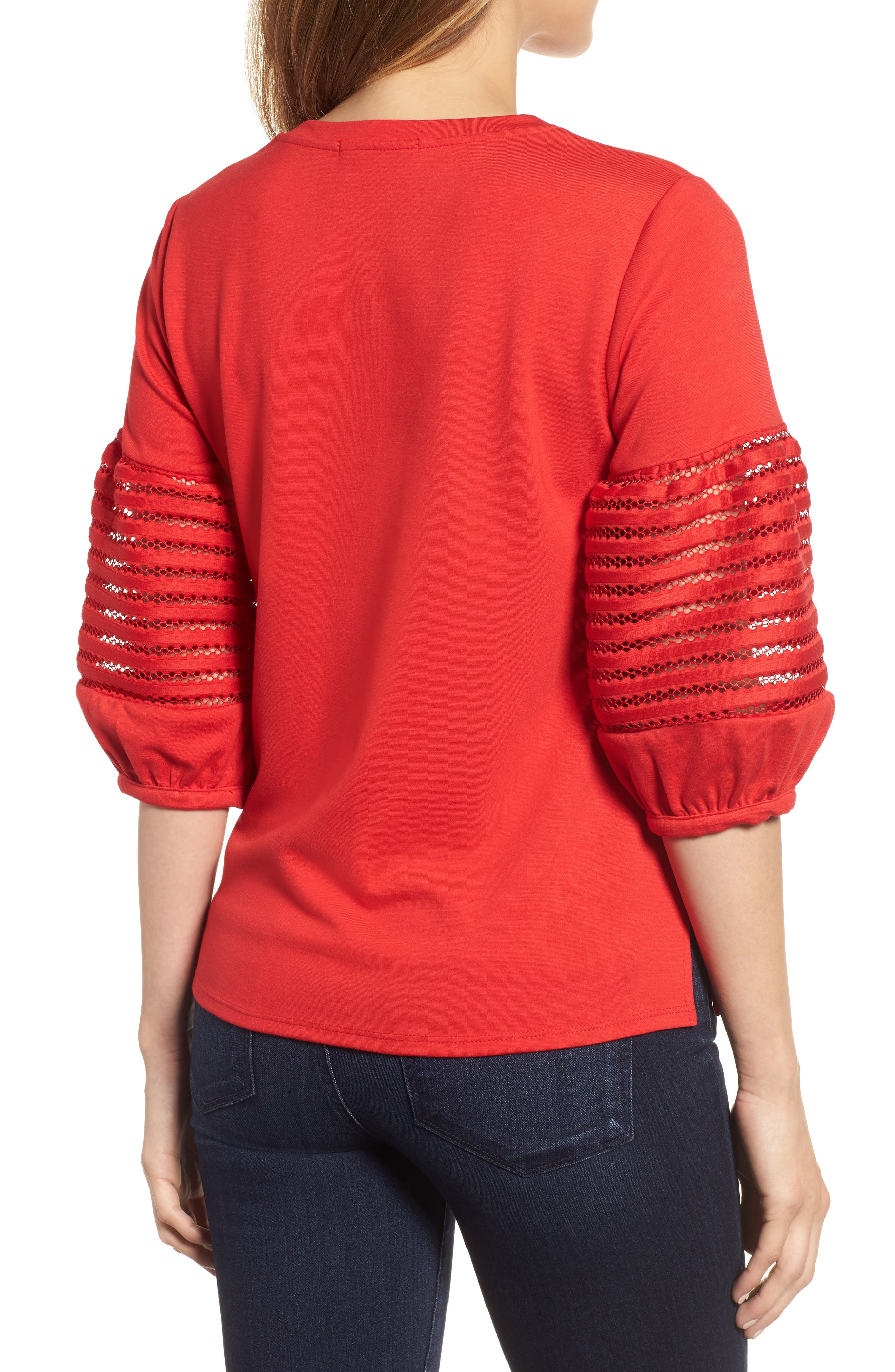 Baby Ponte Bubble Sleeve Lace Shirt,                             Alternate thumbnail 2, color,                             Red