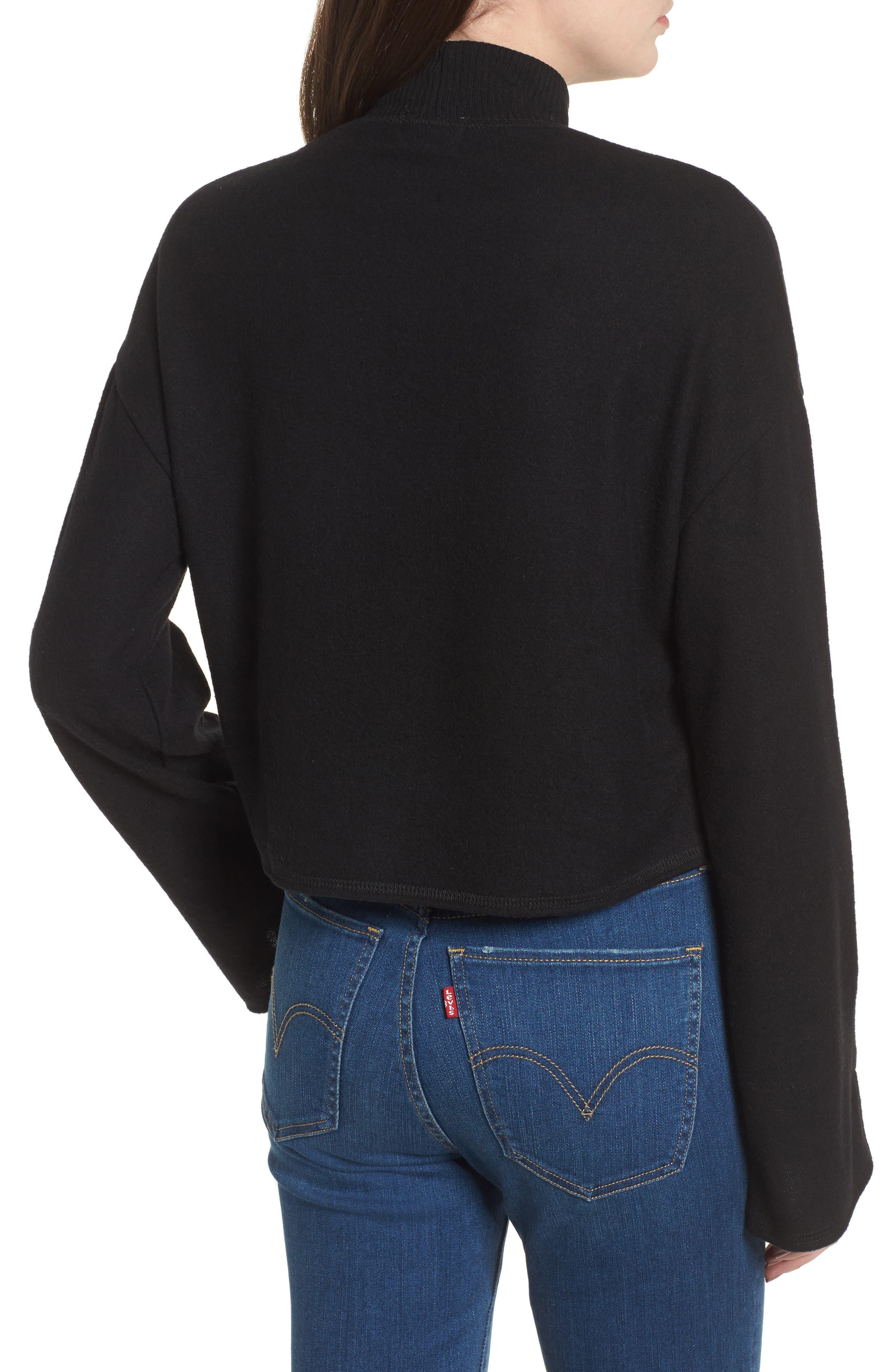 Crop Mock Neck Pullover,                             Alternate thumbnail 2, color,                             Black