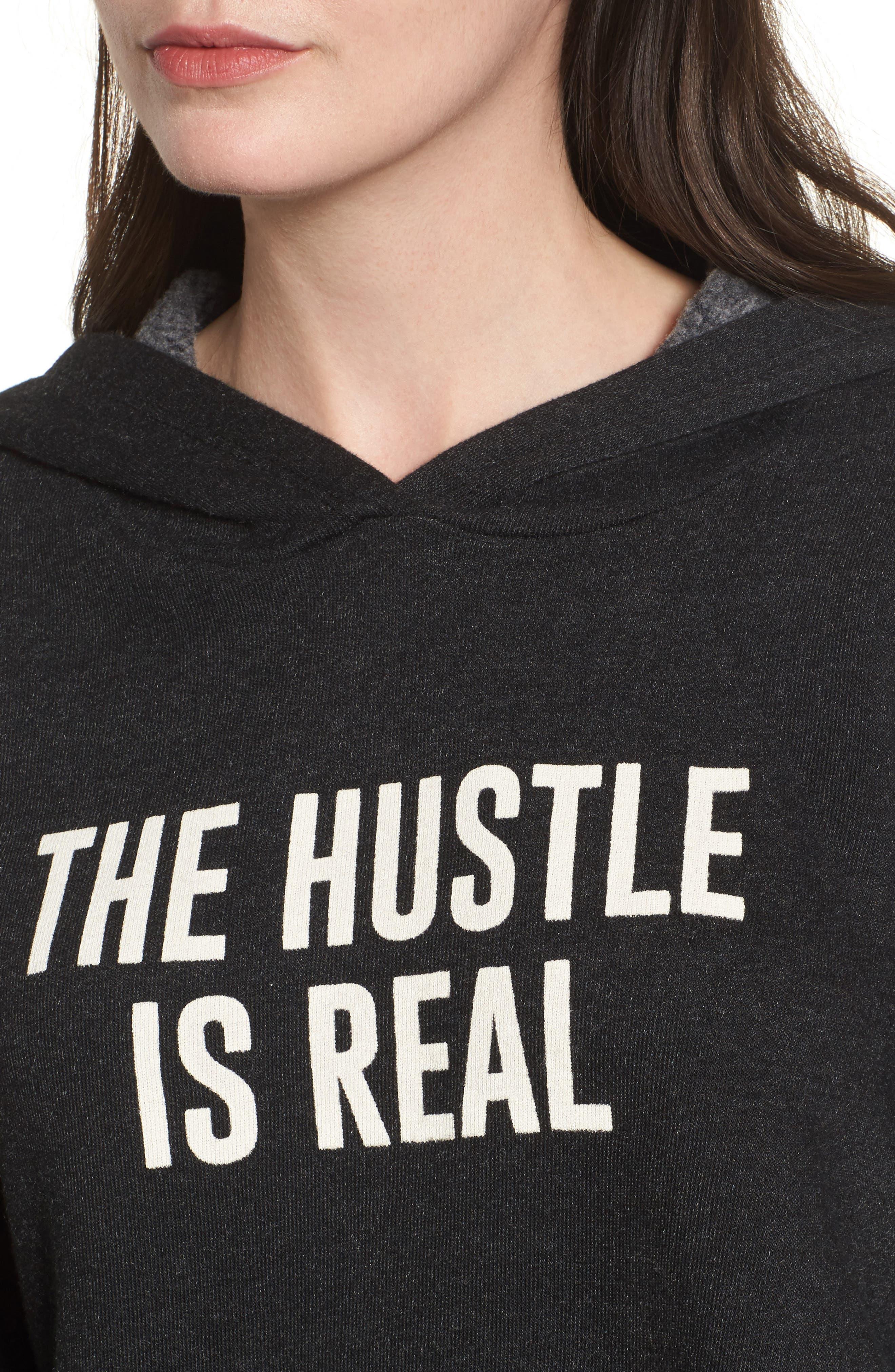 The Hustle is Real Hoodie,                             Alternate thumbnail 4, color,                             Black