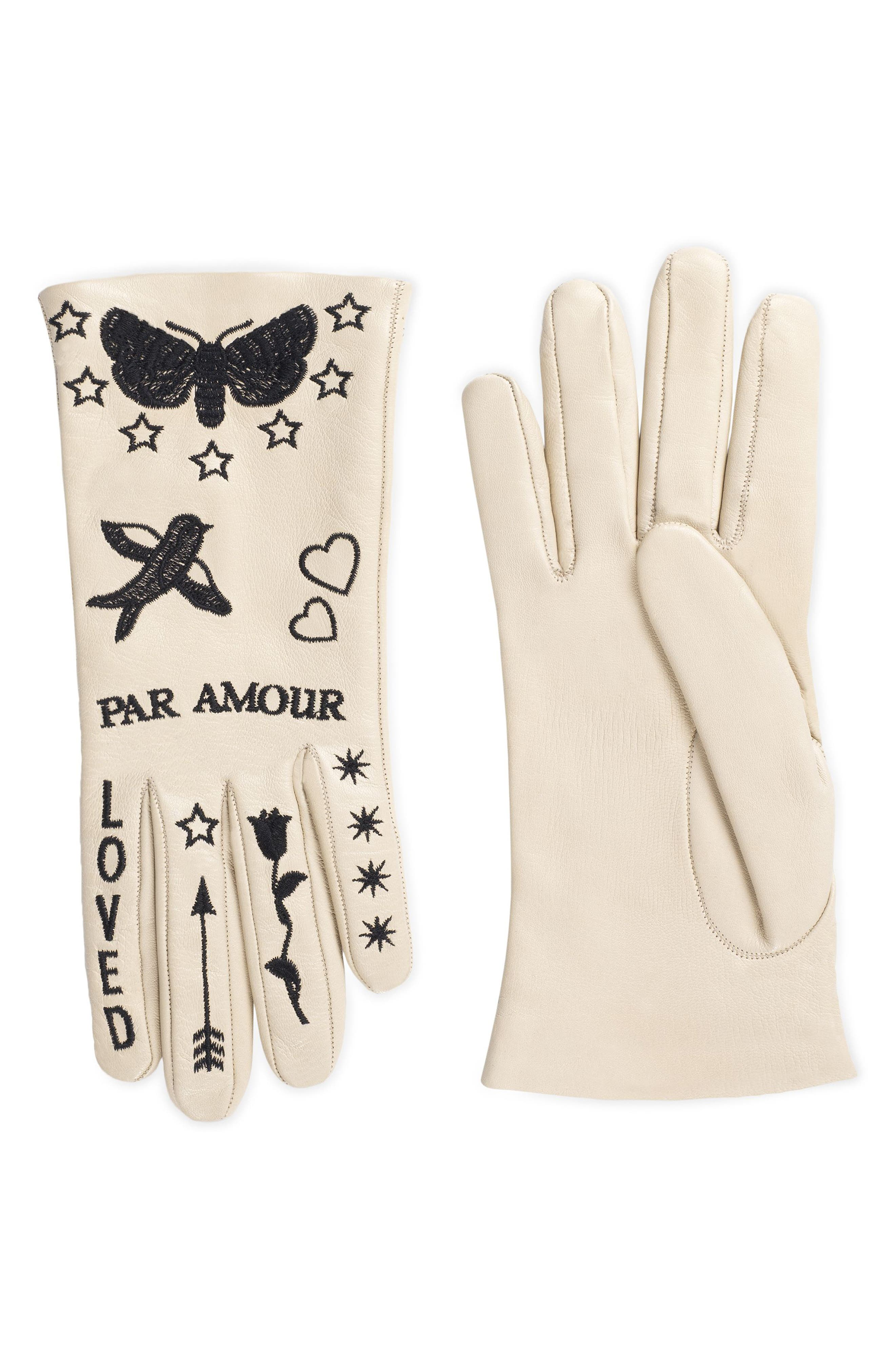 Gucci Melissa Embroidered Leather Gloves