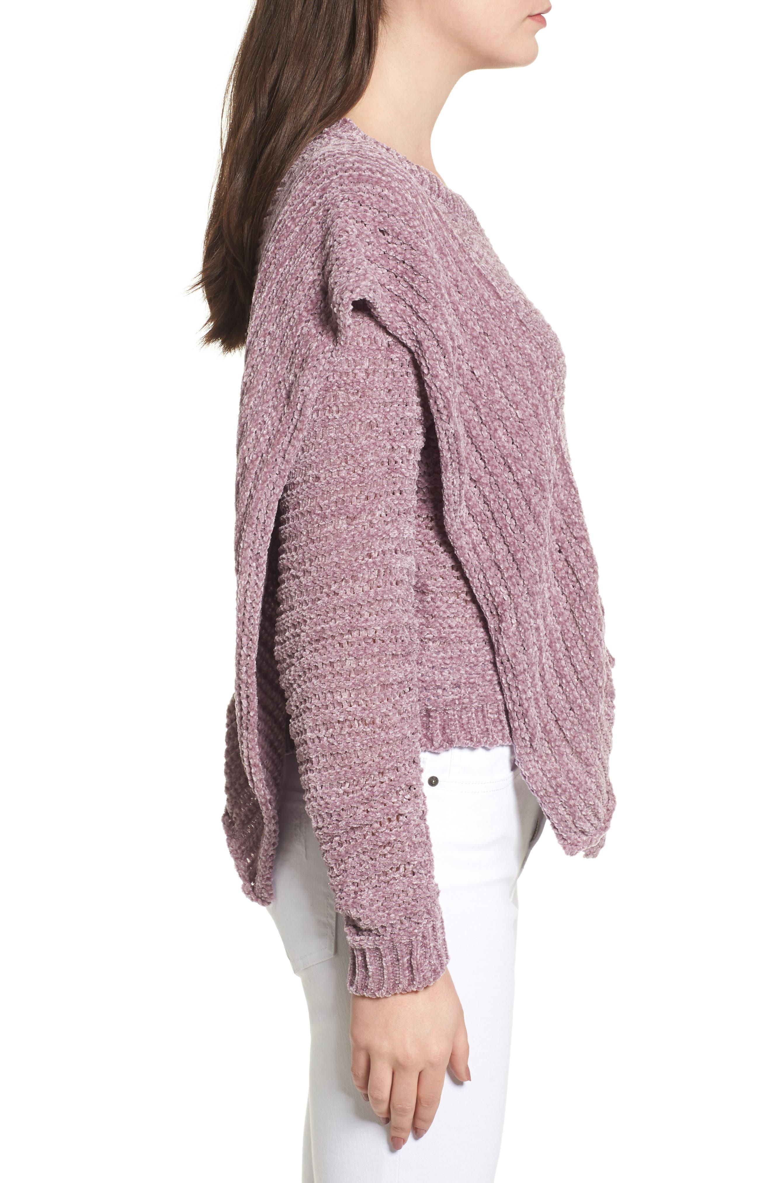 Ruffle Chenille Sweater,                             Alternate thumbnail 3, color,                             Soft Purple