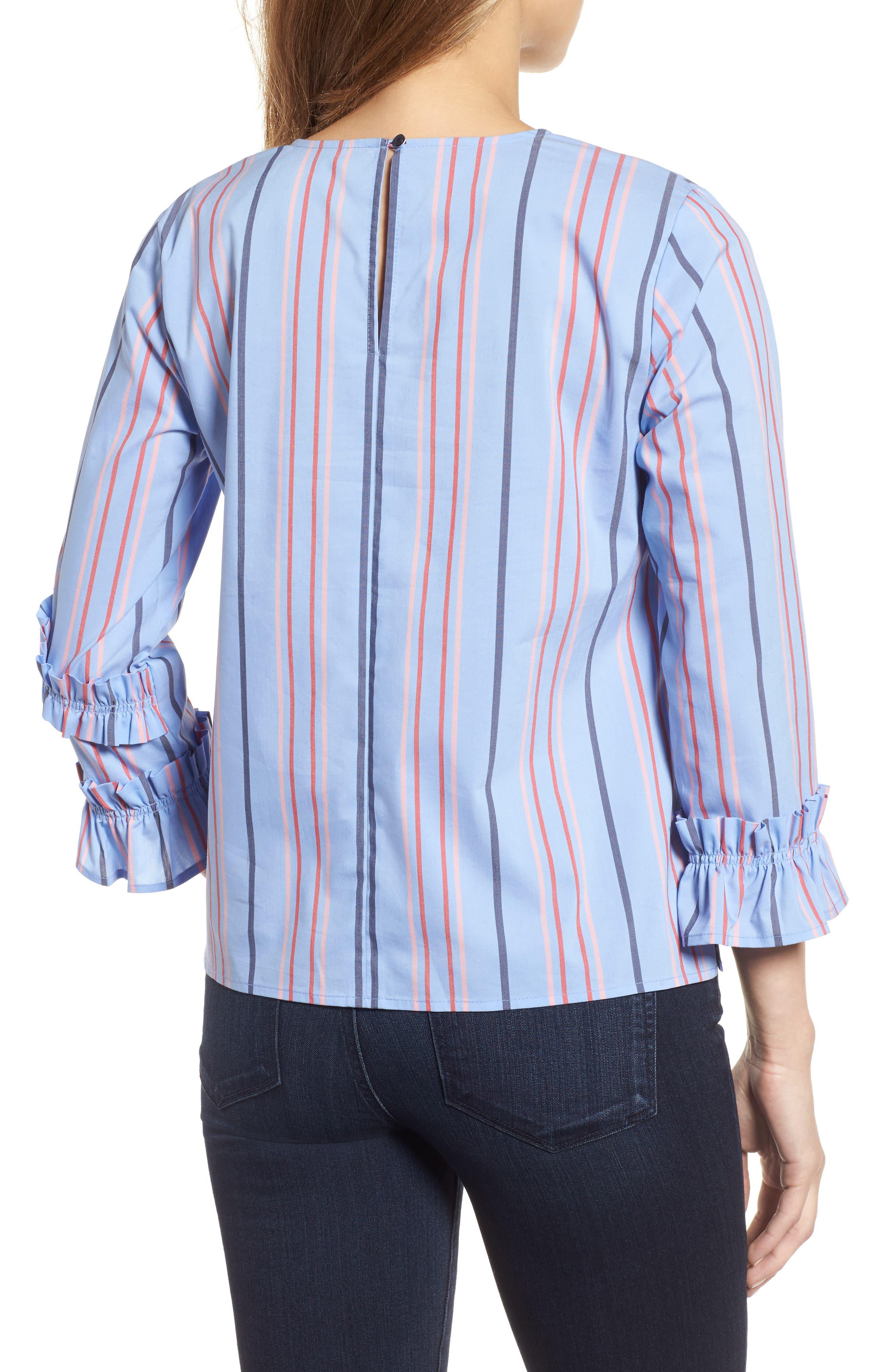 Ruffle Detail Poplin Shirt,                             Alternate thumbnail 2, color,                             Blue Multi Stripe