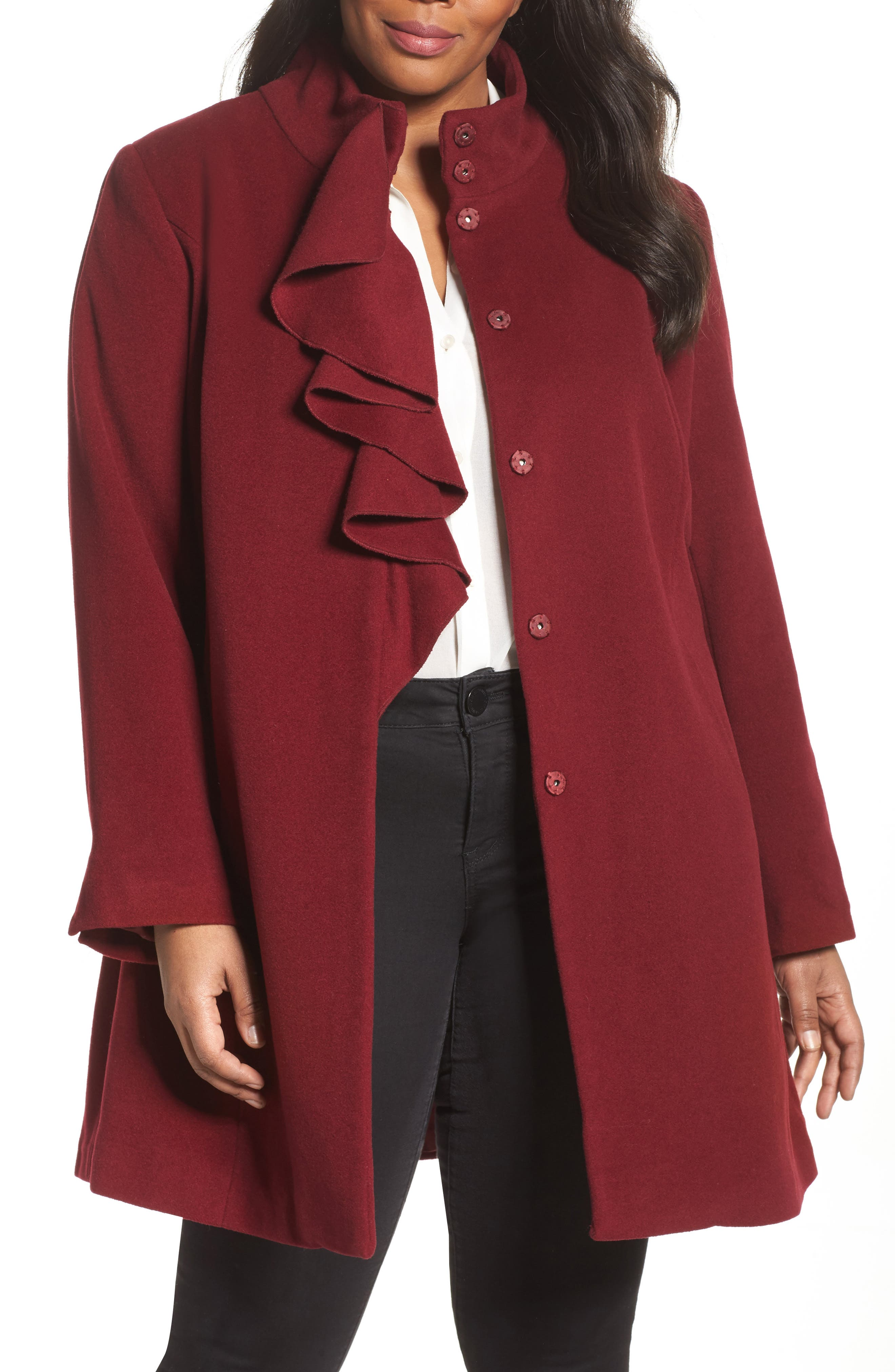 Kate Ruffle Wool Blend Coat,                         Main,                         color, Berry