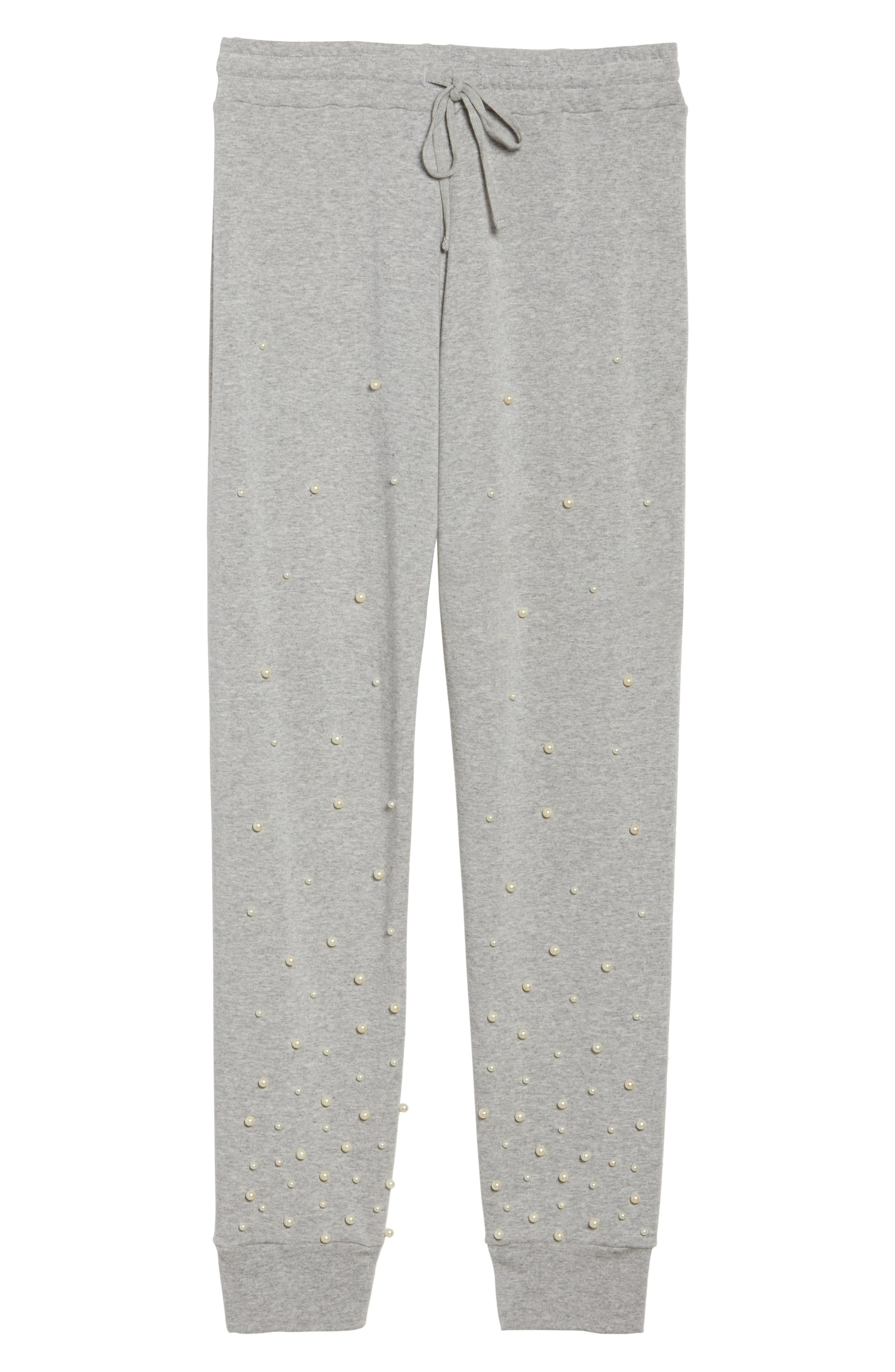 Price Imitation Pearl Embellished Lounge Pants,                             Alternate thumbnail 4, color,                             Heather Grey