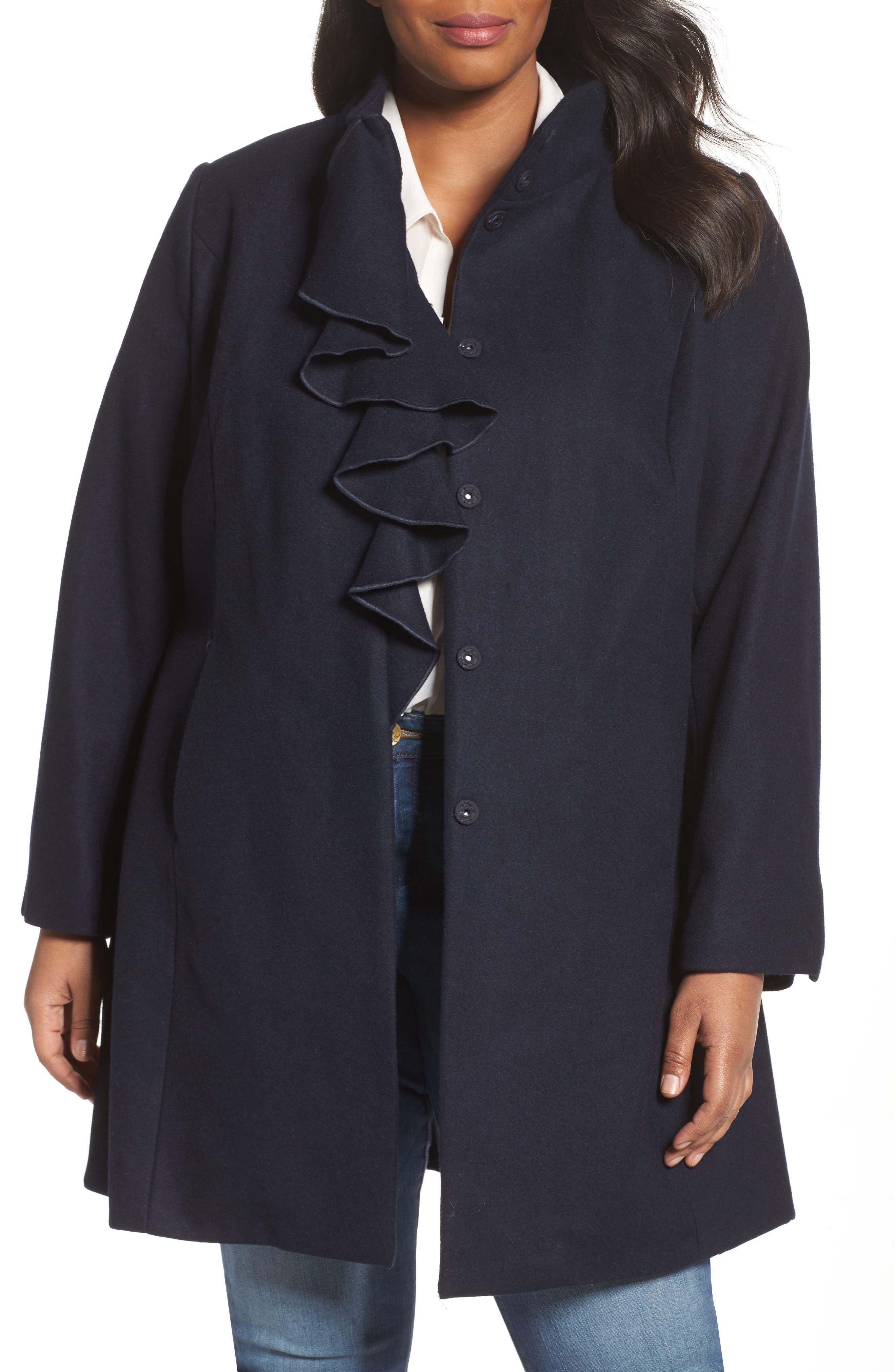 Tahari Kate Ruffle Wool Blend Coat (Plus Size)