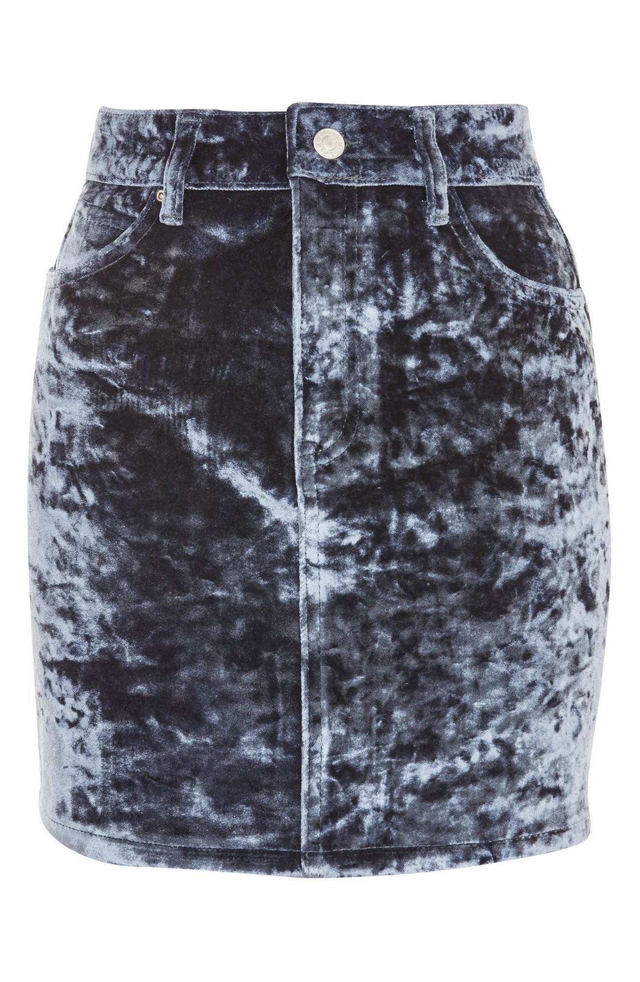 Bonded Velvet Denim Skirt,                             Alternate thumbnail 4, color,                             Blue