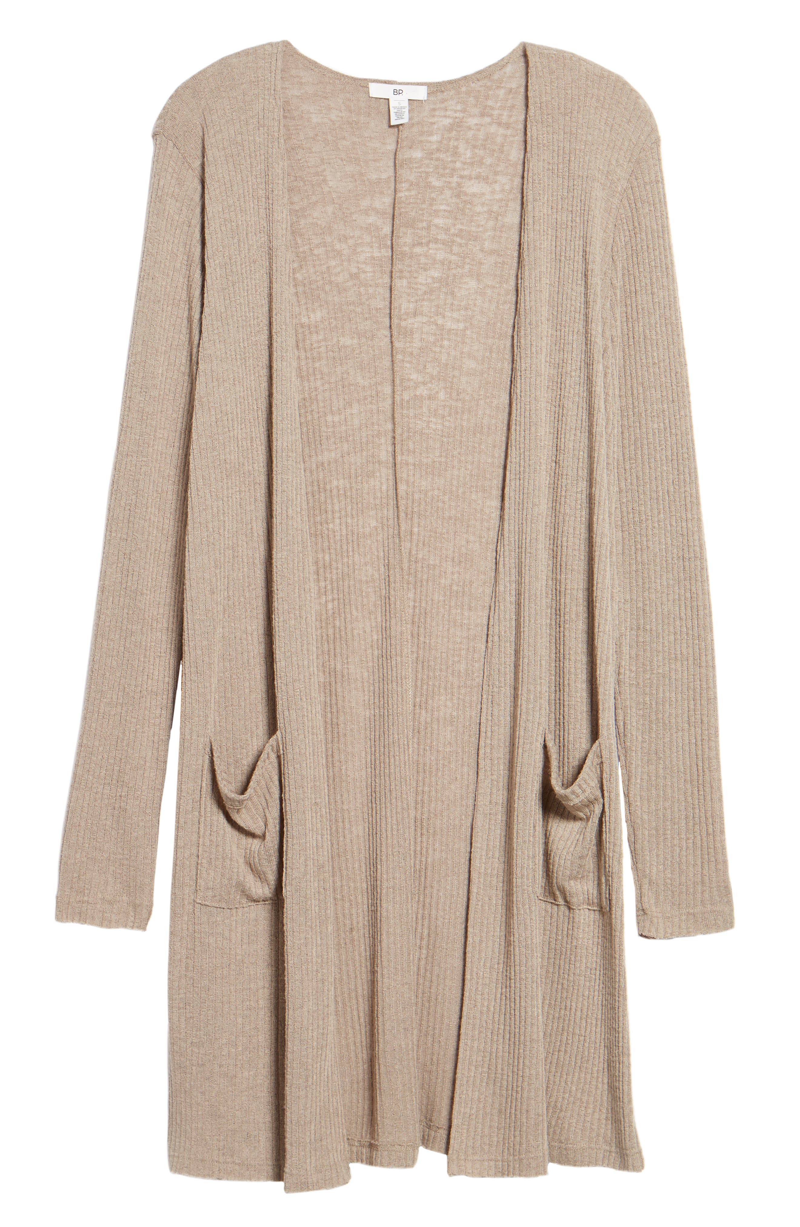 Ribbed Knit Cardigan,                             Alternate thumbnail 6, color,                             Beige Morn