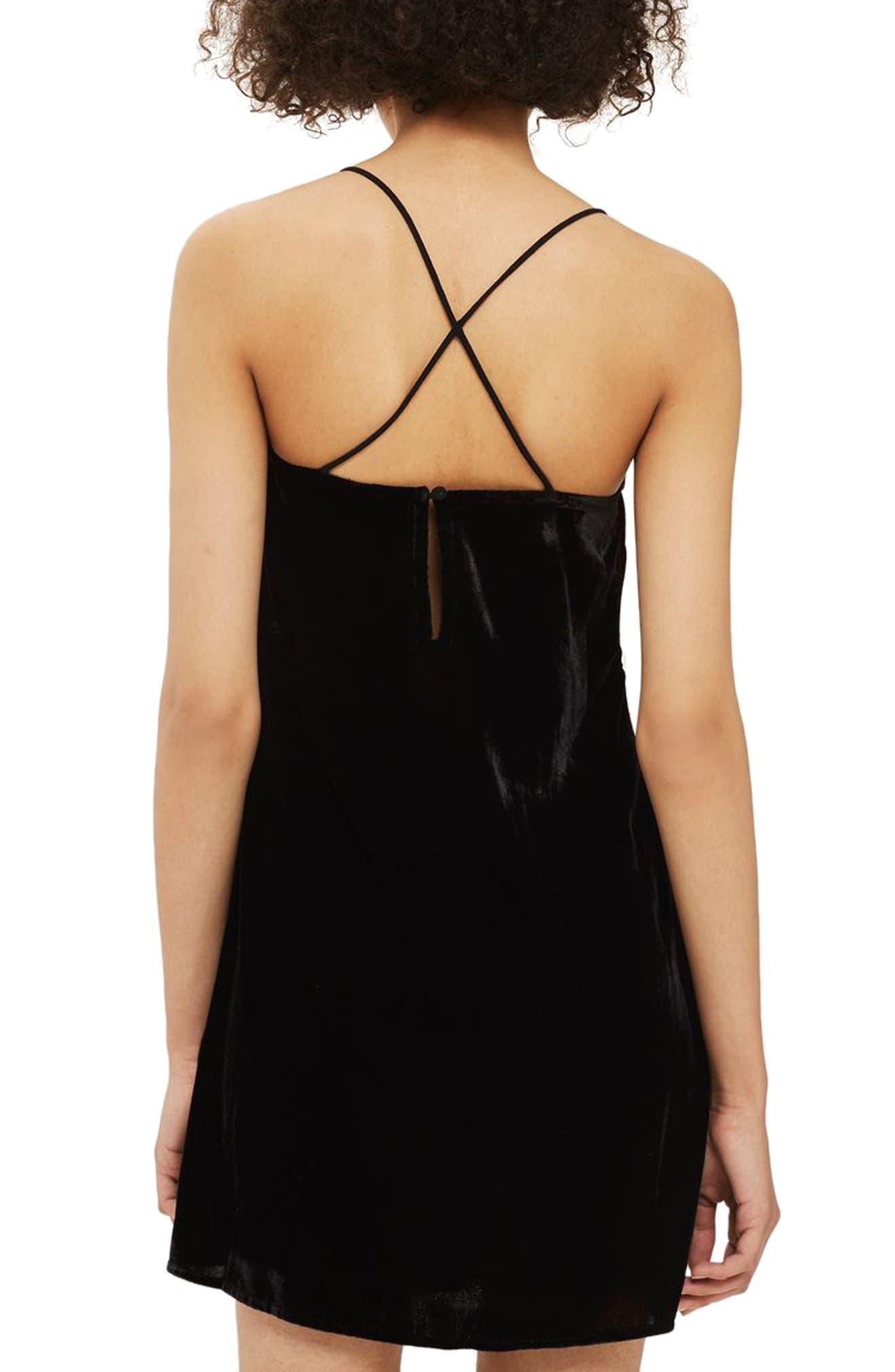 Embroidered Velvet Slipdress,                             Alternate thumbnail 2, color,                             Black Multi