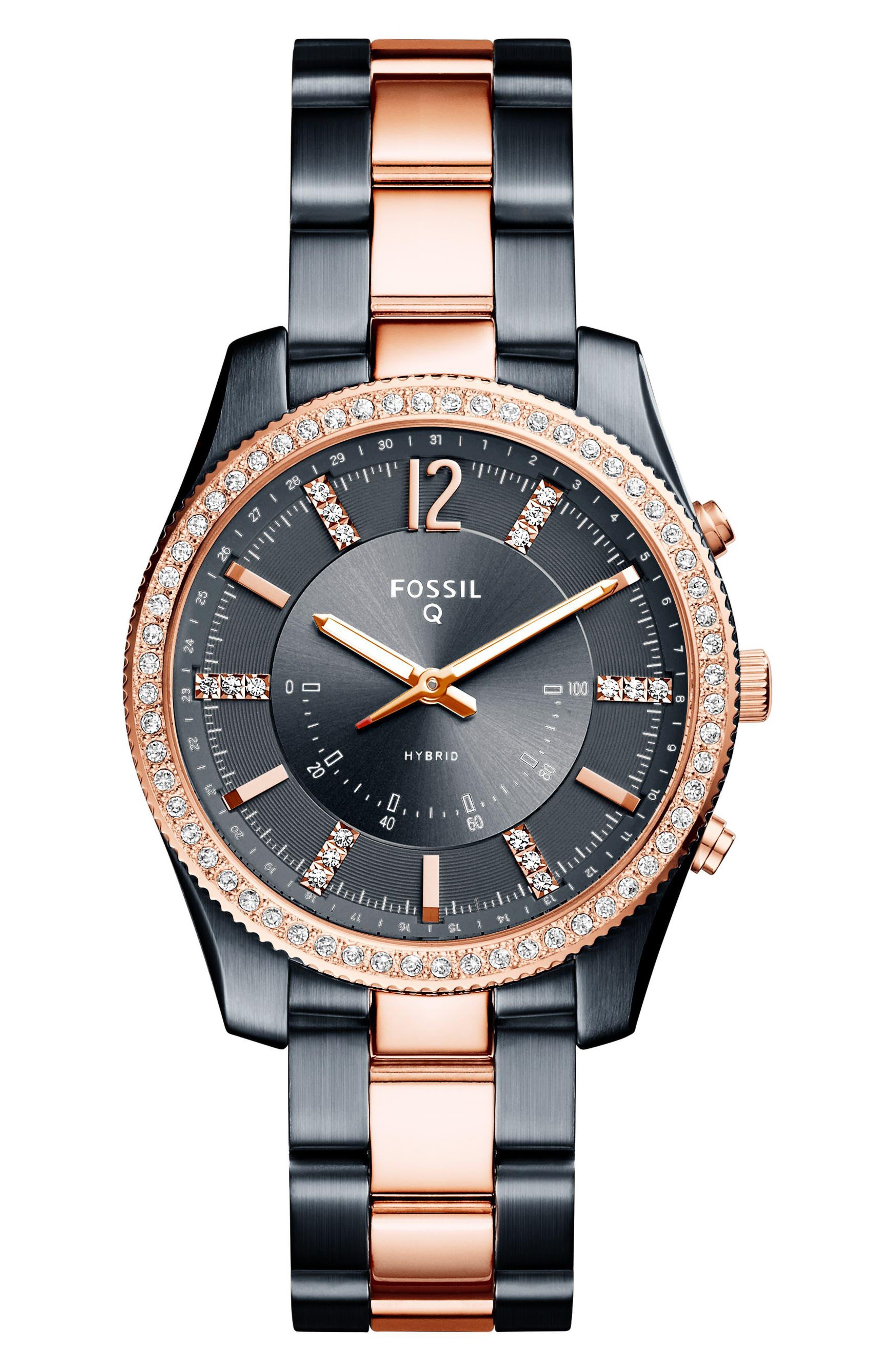 Scarlette Smart Bracelet Watch, 38mm,                             Main thumbnail 1, color,                             Blue/ Rose Gold