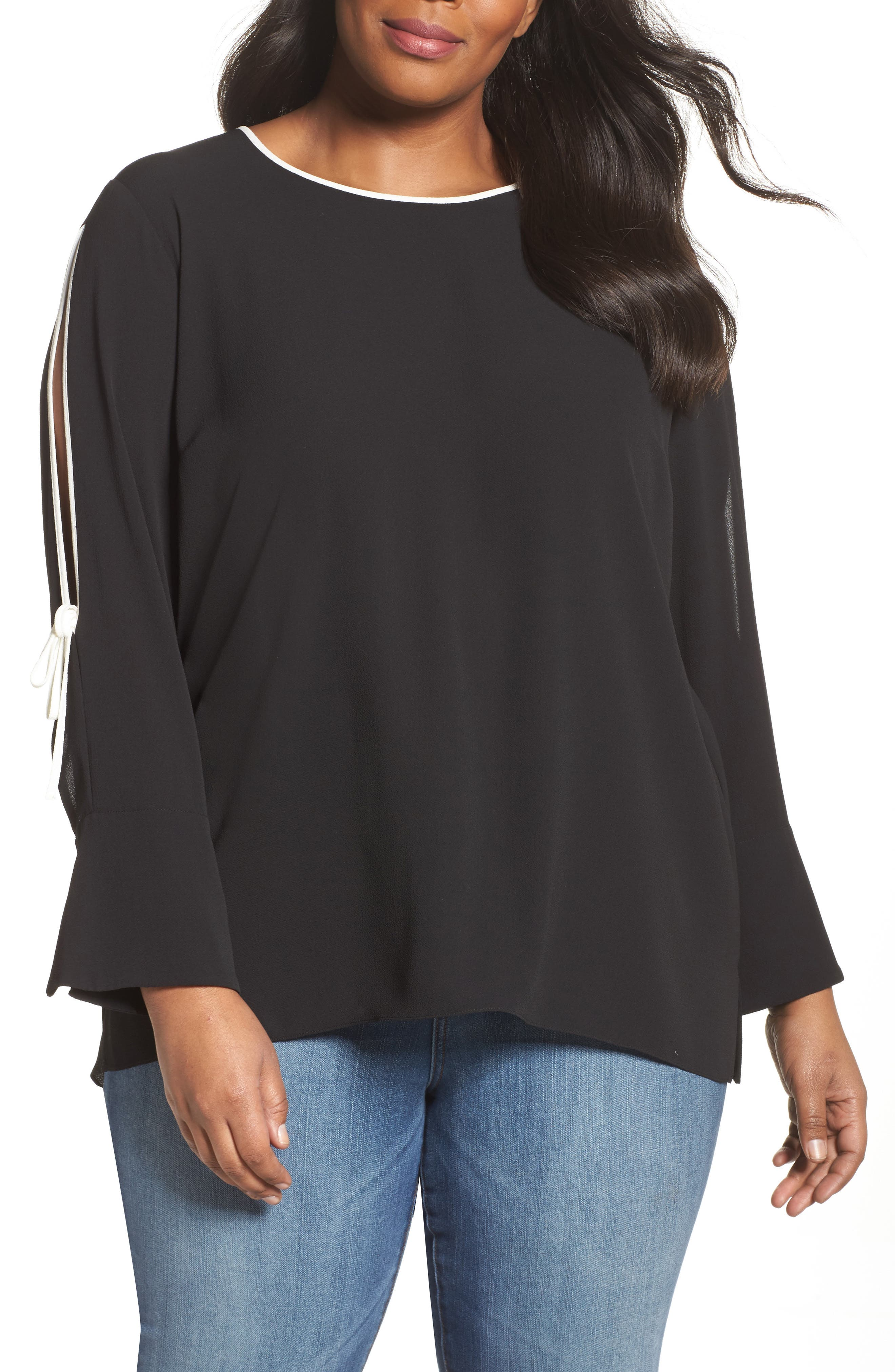 Bell Cuff Split Sleeve Shirt,                             Main thumbnail 1, color,                             Rich Black