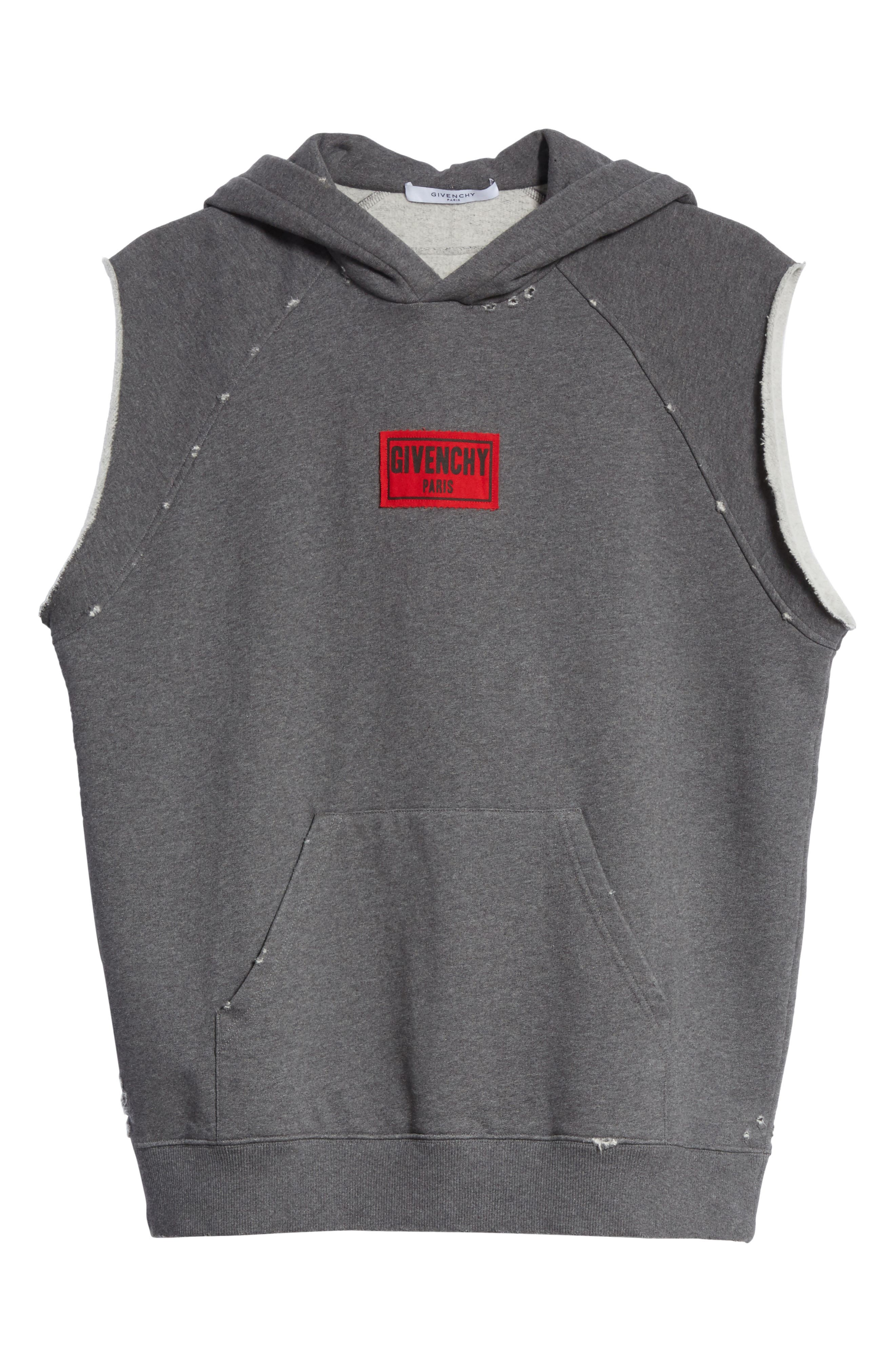 Small Logo Sleeveless Hoodie,                             Alternate thumbnail 6, color,                             Grey