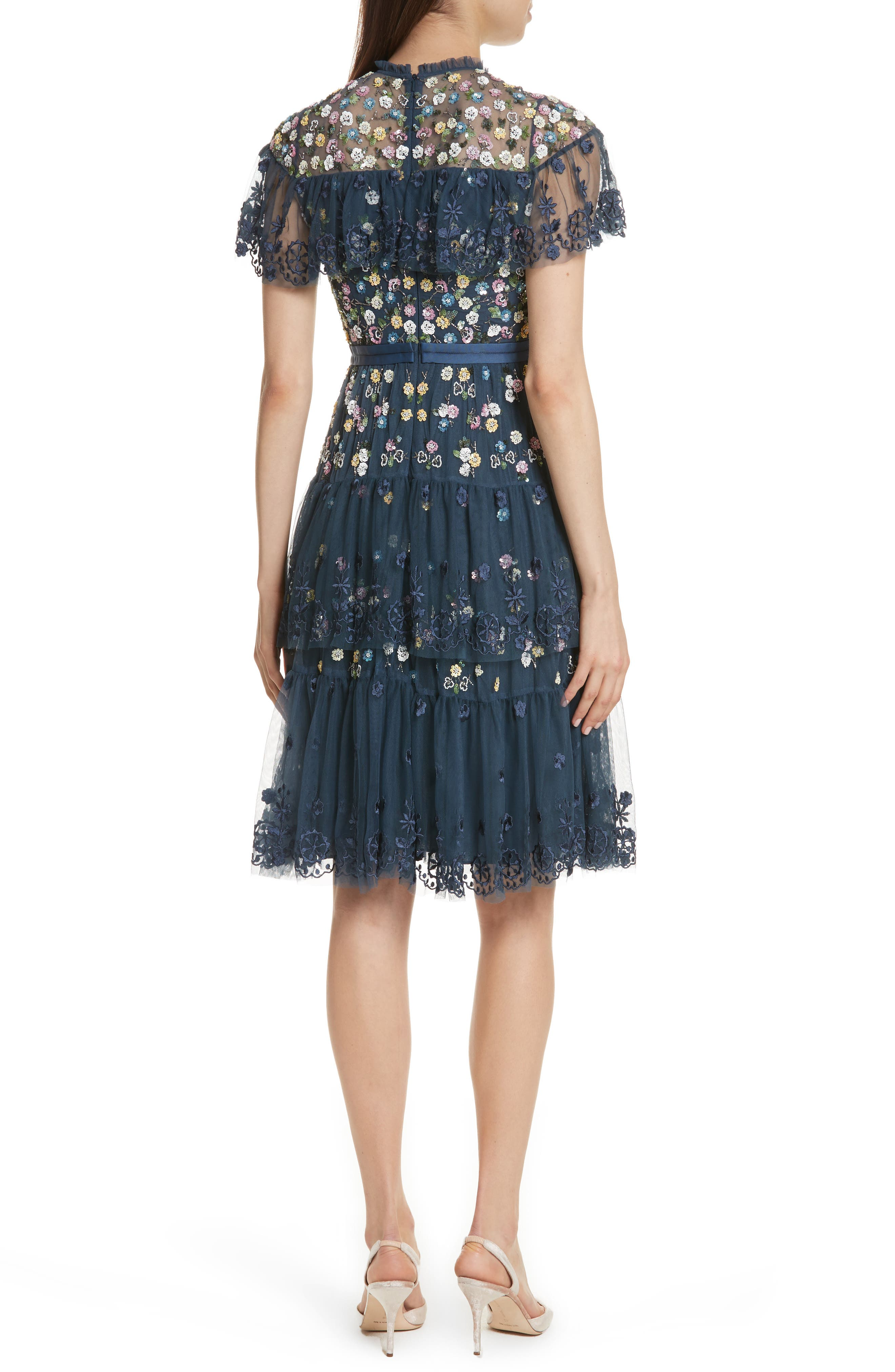 Anglais Tiered Dress,                             Alternate thumbnail 2, color,                             Washed Indigo