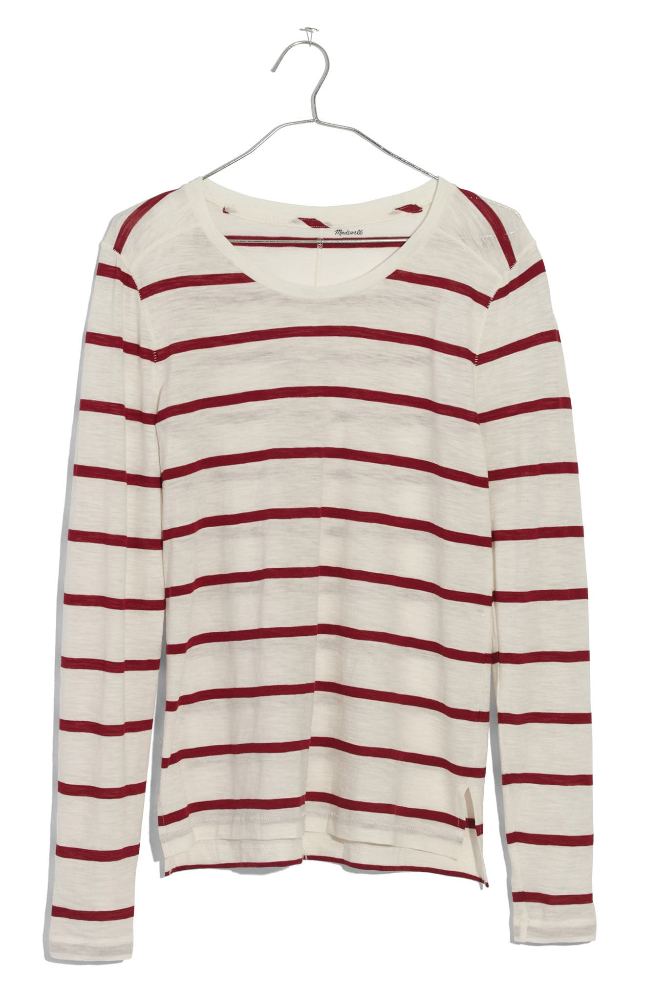 Whisper Cotton Stripe Long Sleeve Tee,                             Alternate thumbnail 3, color,                             Bright Ivory