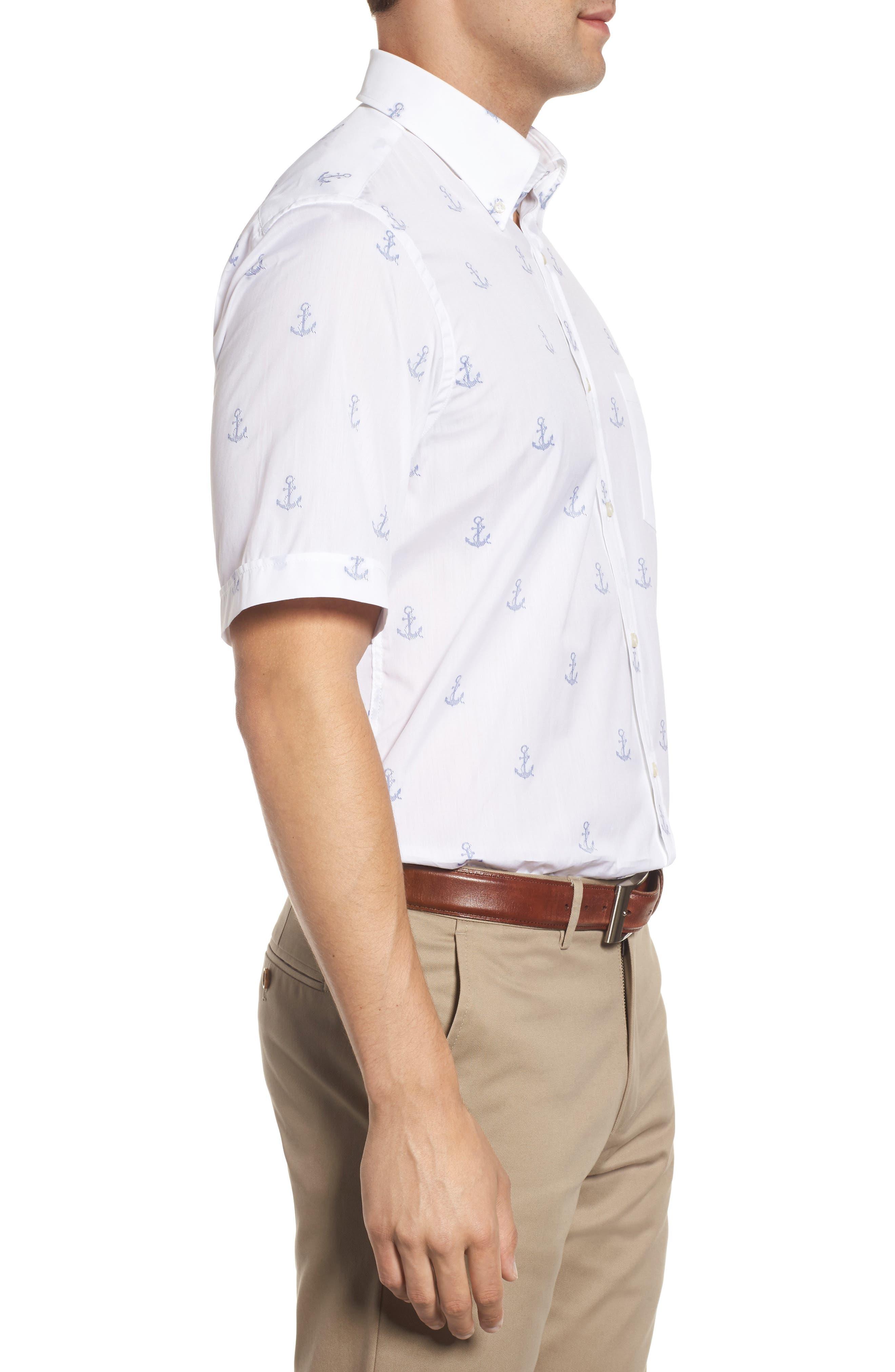 Paul&Shark Regular Fit Anchor Sport Shirt,                             Alternate thumbnail 3, color,                             White
