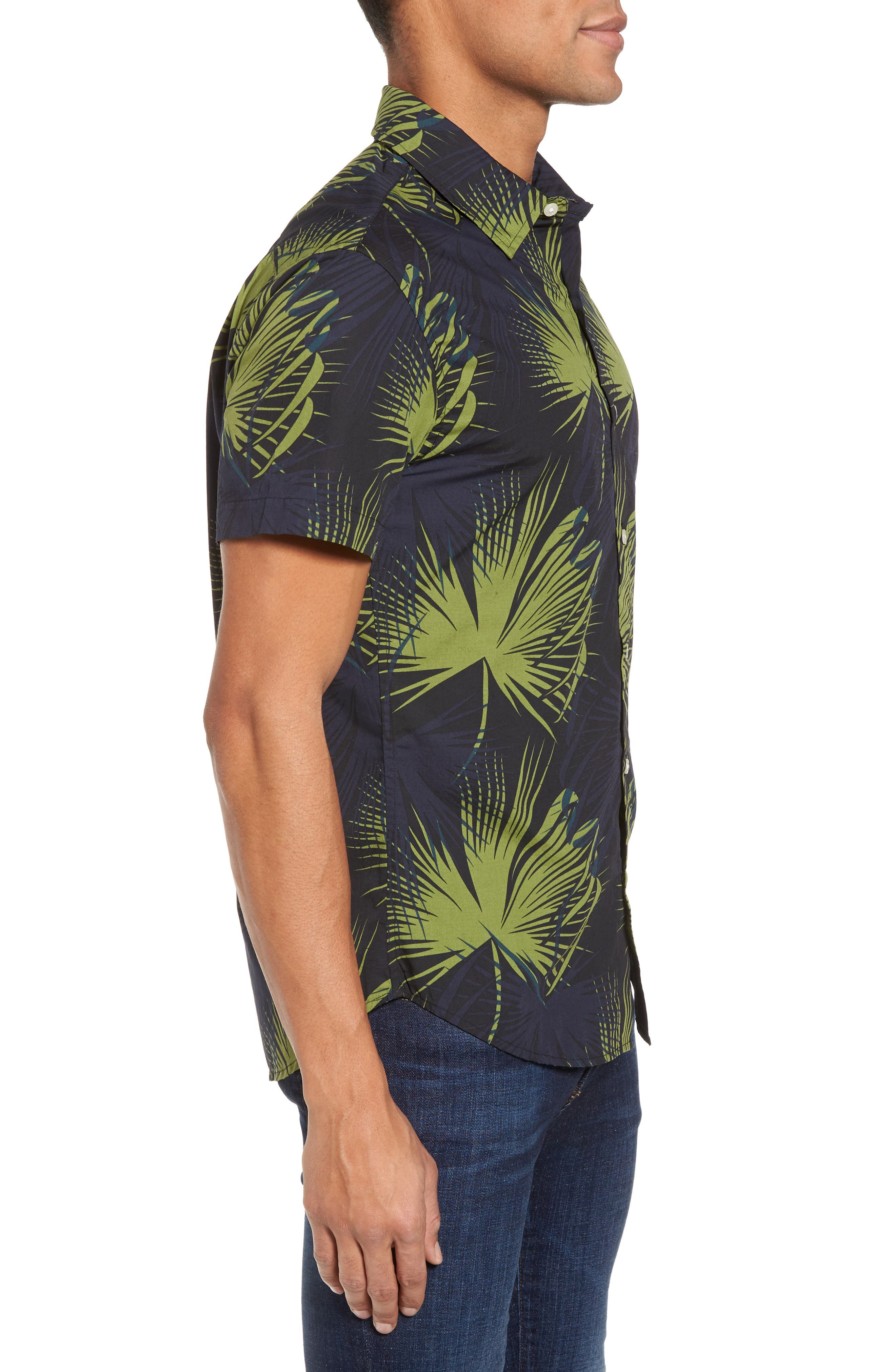 Slim Fit Frond Print Sport Shirt,                             Alternate thumbnail 3, color,                             Palm Shade Calla Green