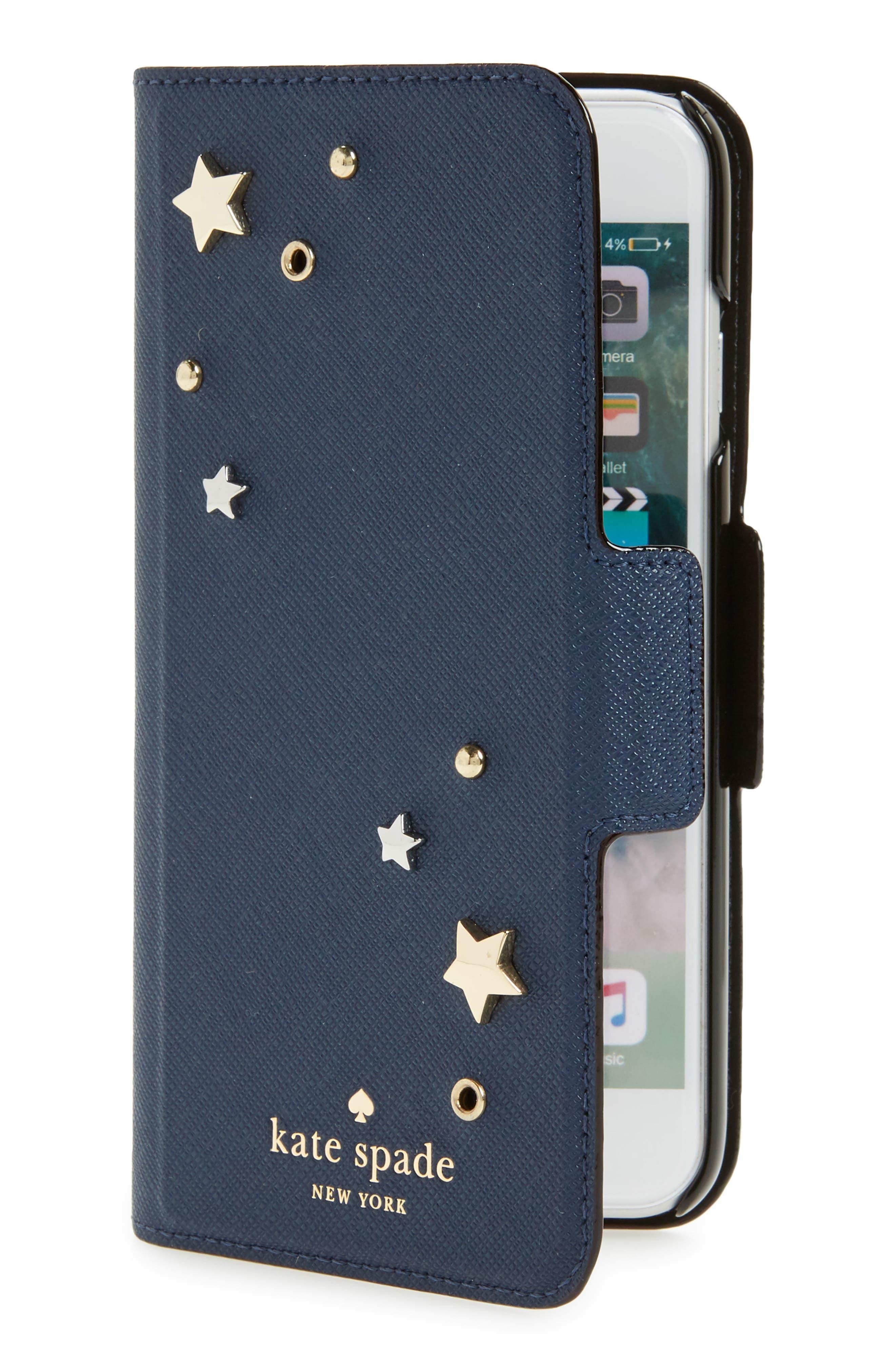 Main Image - kate spade new york star appliqué iPhone 7/8 & 7/8 Plus folio case