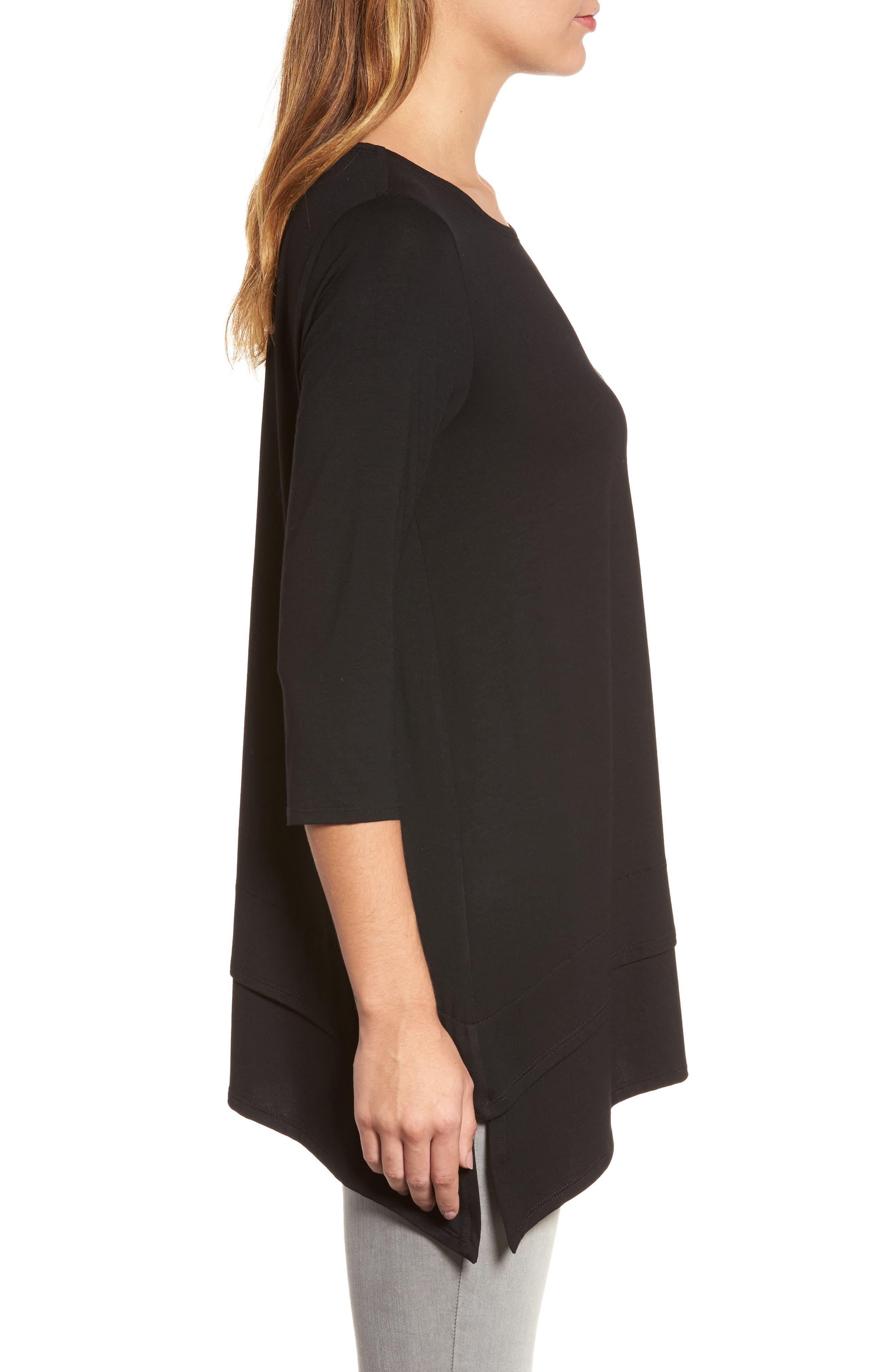 Tiered Handkerchief Hem Tunic,                             Alternate thumbnail 3, color,                             Black