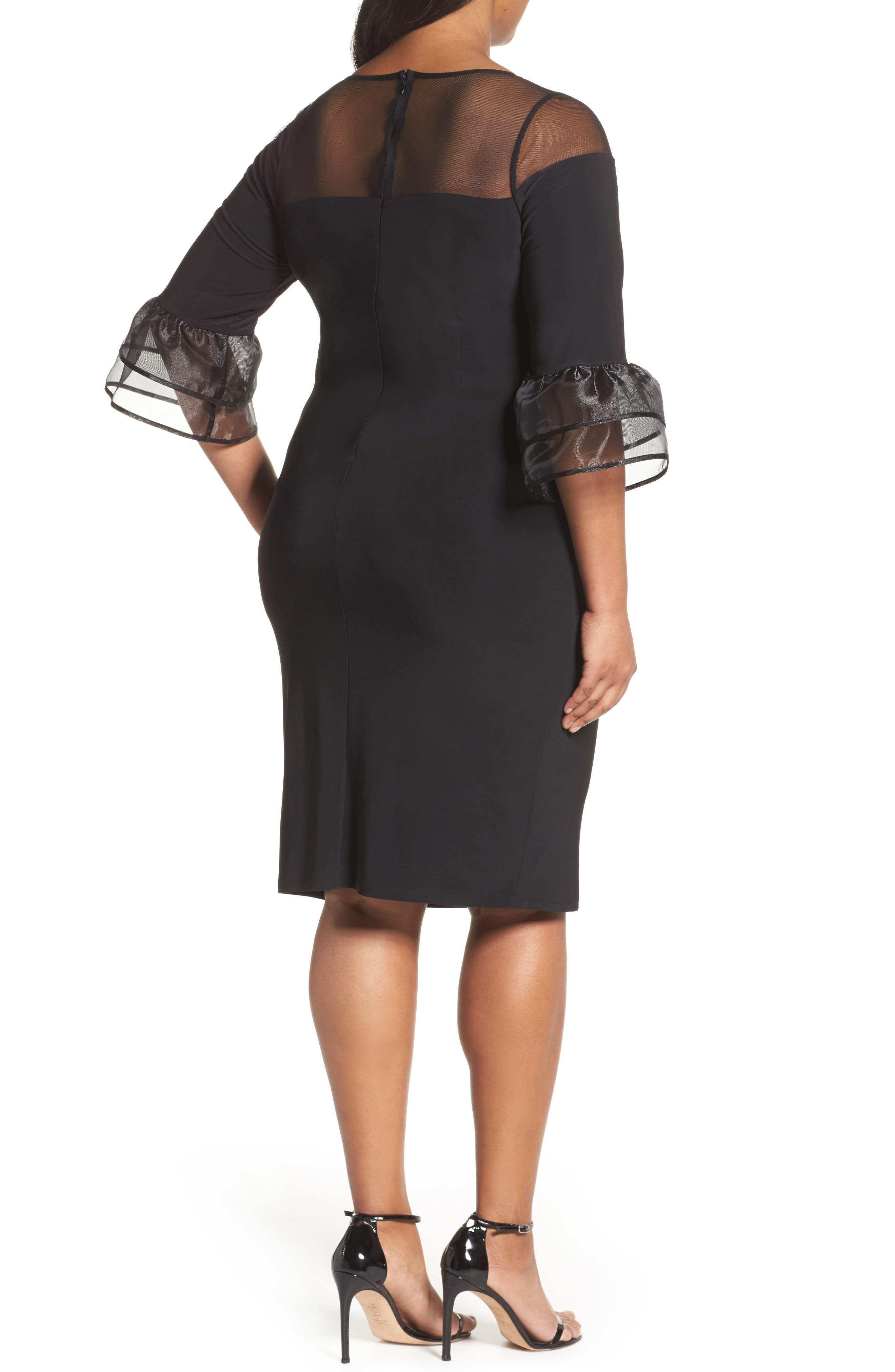 Illusion Yoke Bell Sleeve Sheath Dress,                             Alternate thumbnail 2, color,                             Black