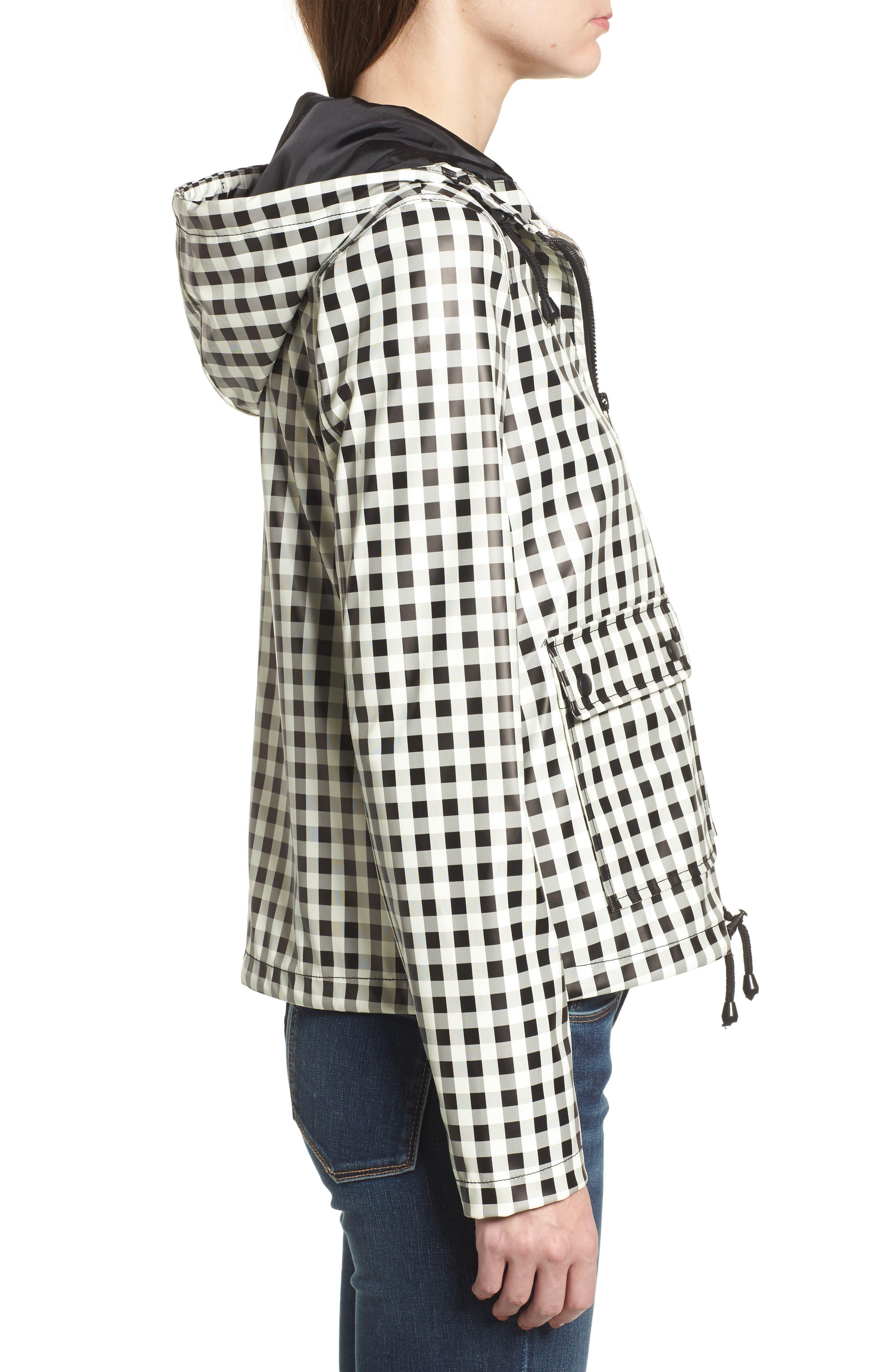 Gingham Hooded Rain Jacket,                             Alternate thumbnail 4, color,                             Black/ White