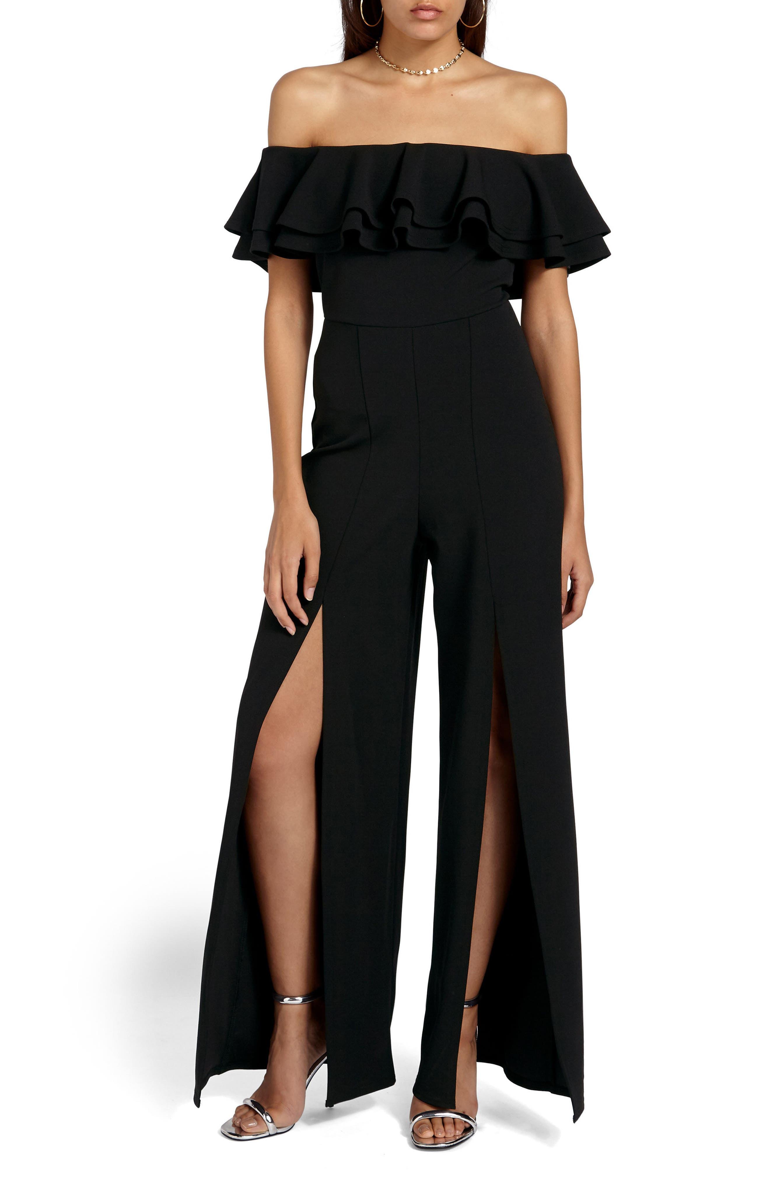 Bardot Off the Shoulder Jumpsuit,                         Main,                         color, Black
