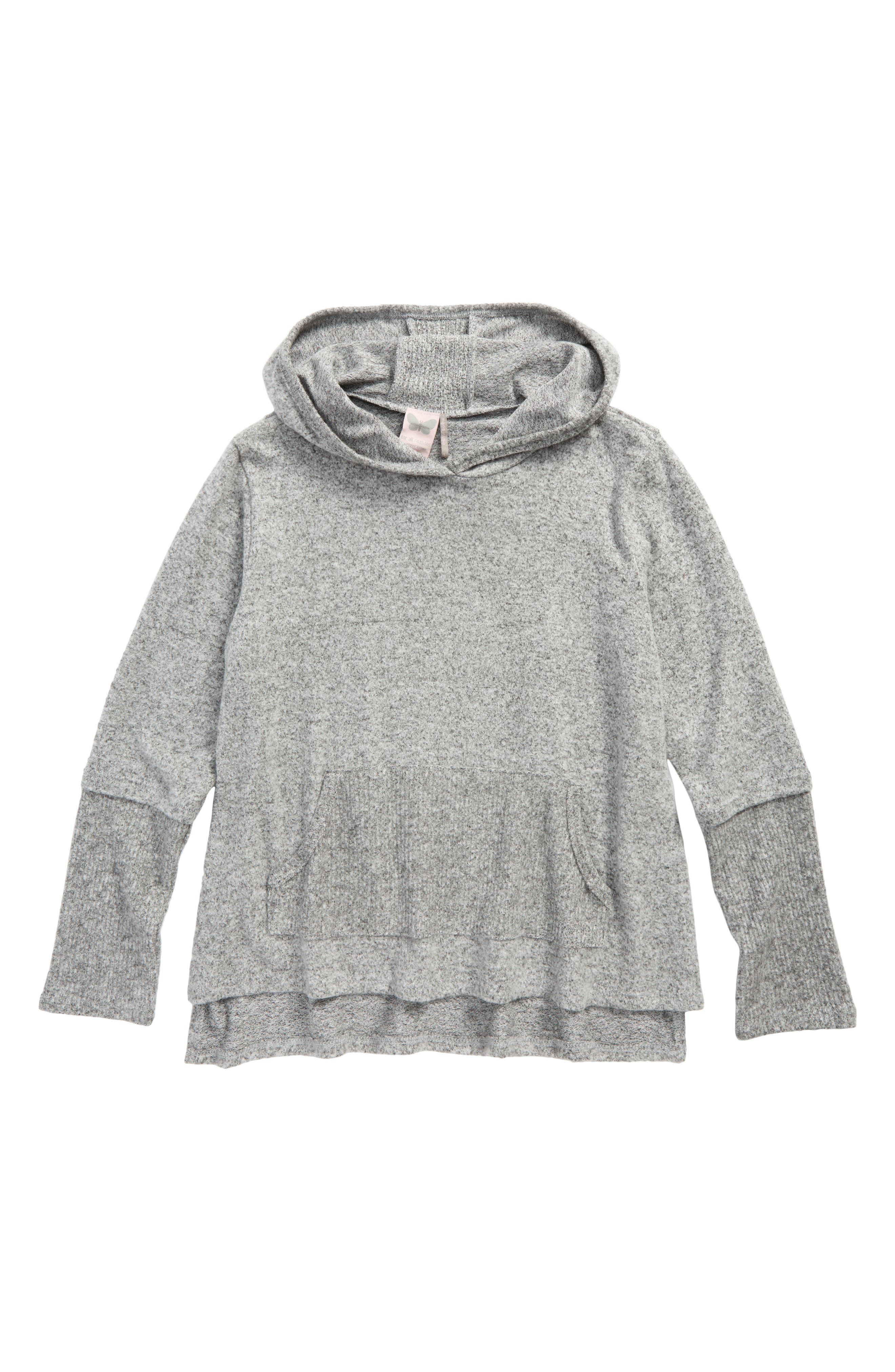 Knit Hoodie,                         Main,                         color, Gray
