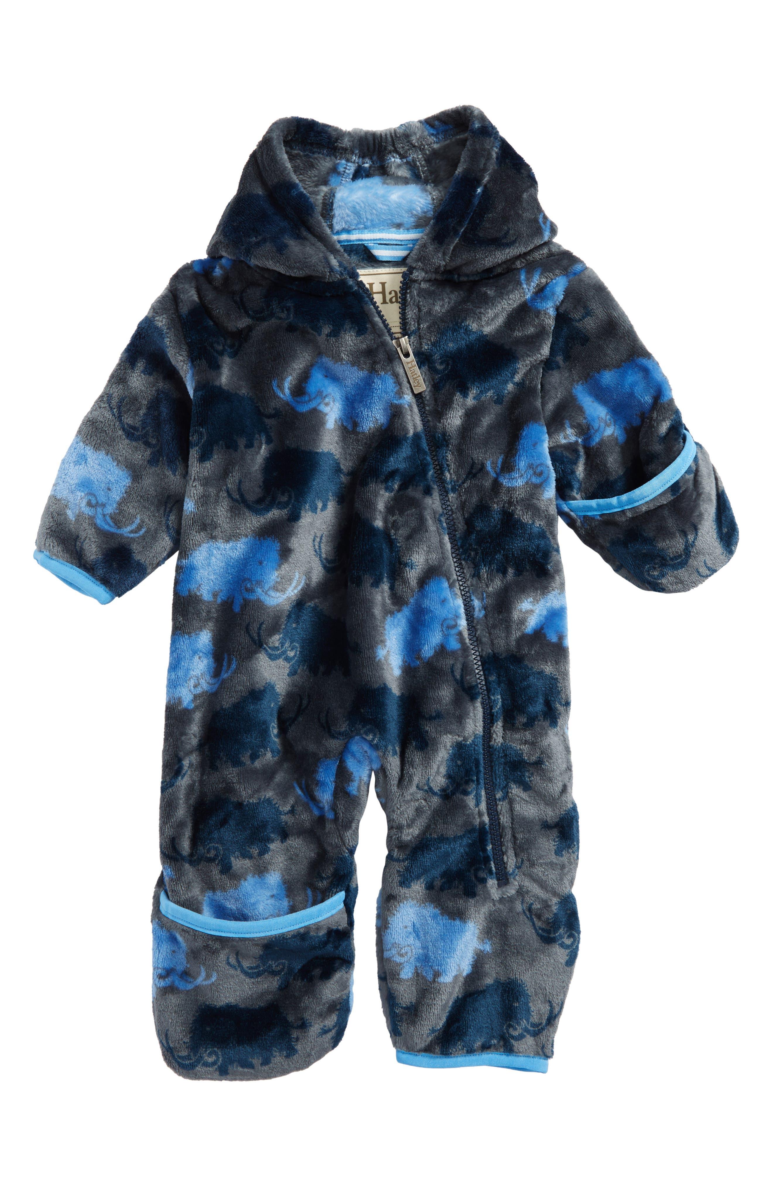 Hatley Mammoth Print Fuzzy Fleece Bundlers Snowsuit (Baby Boys)