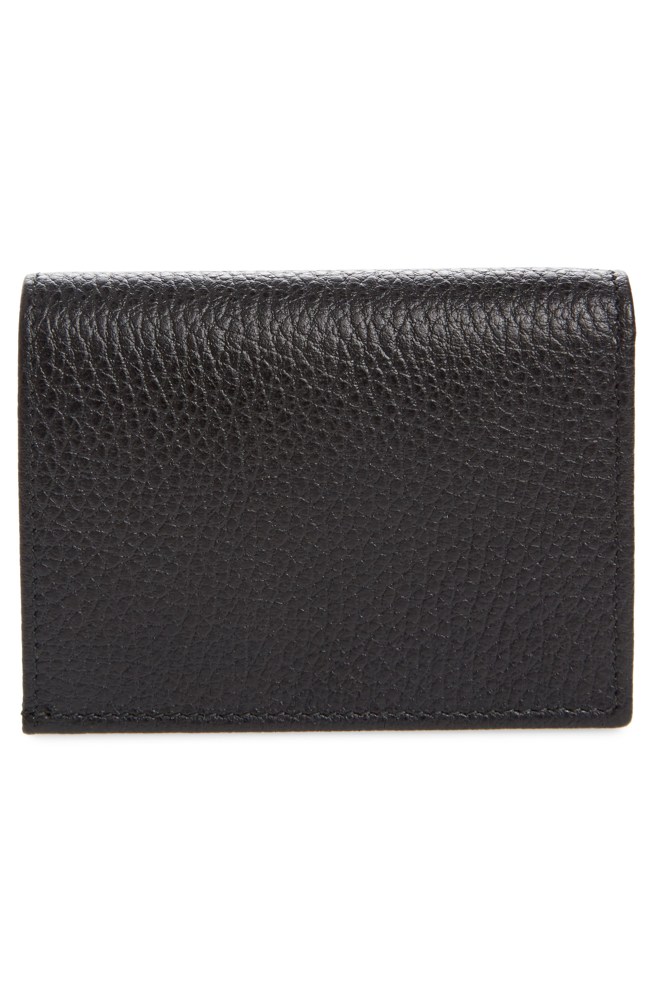 Petite Marmont Leather Card Case,                             Alternate thumbnail 3, color,                             Nero/ Nero