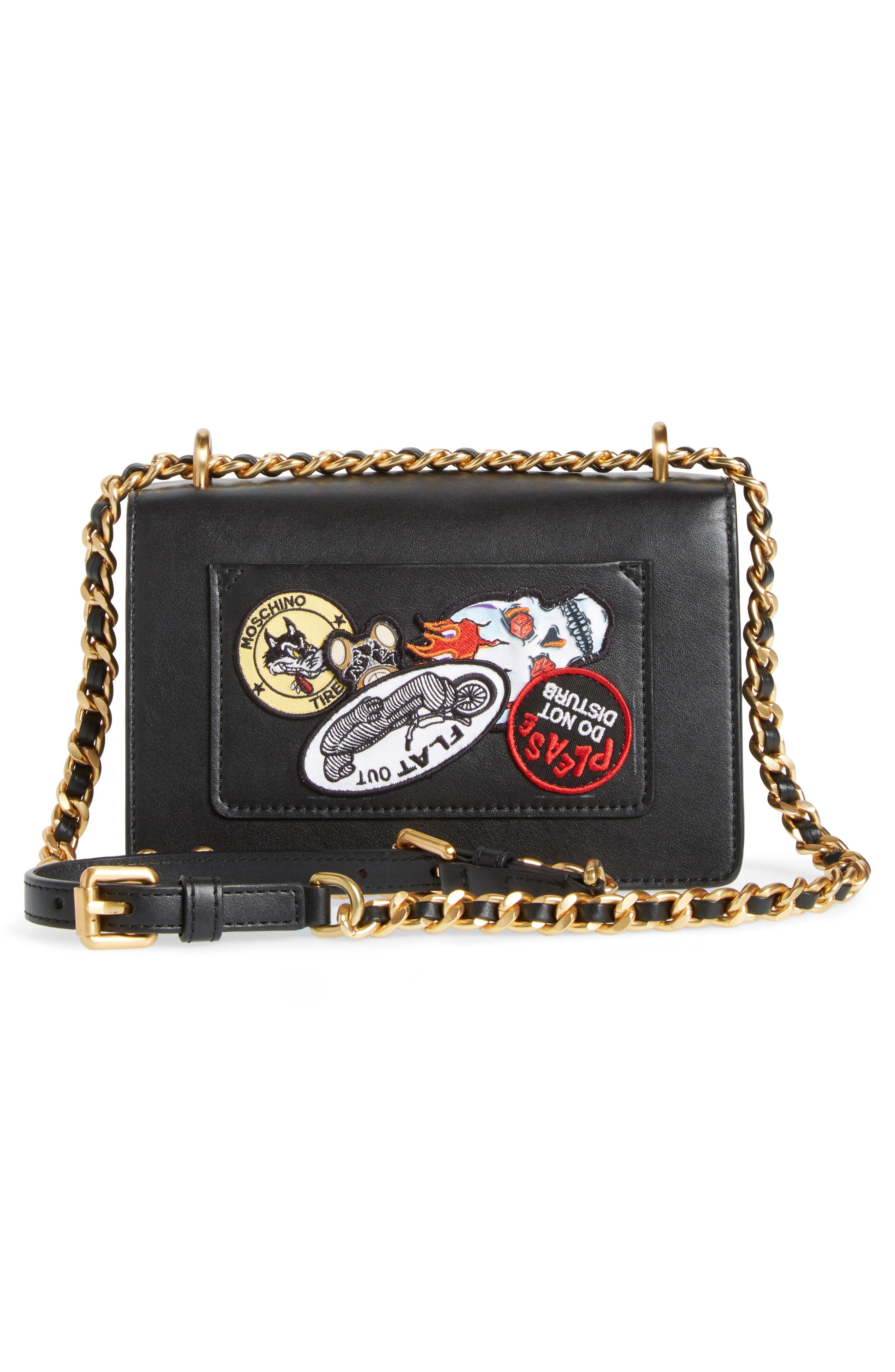 Alternate Image 5  - Moschino Multi Patch Leather Chain Shoulder Bag