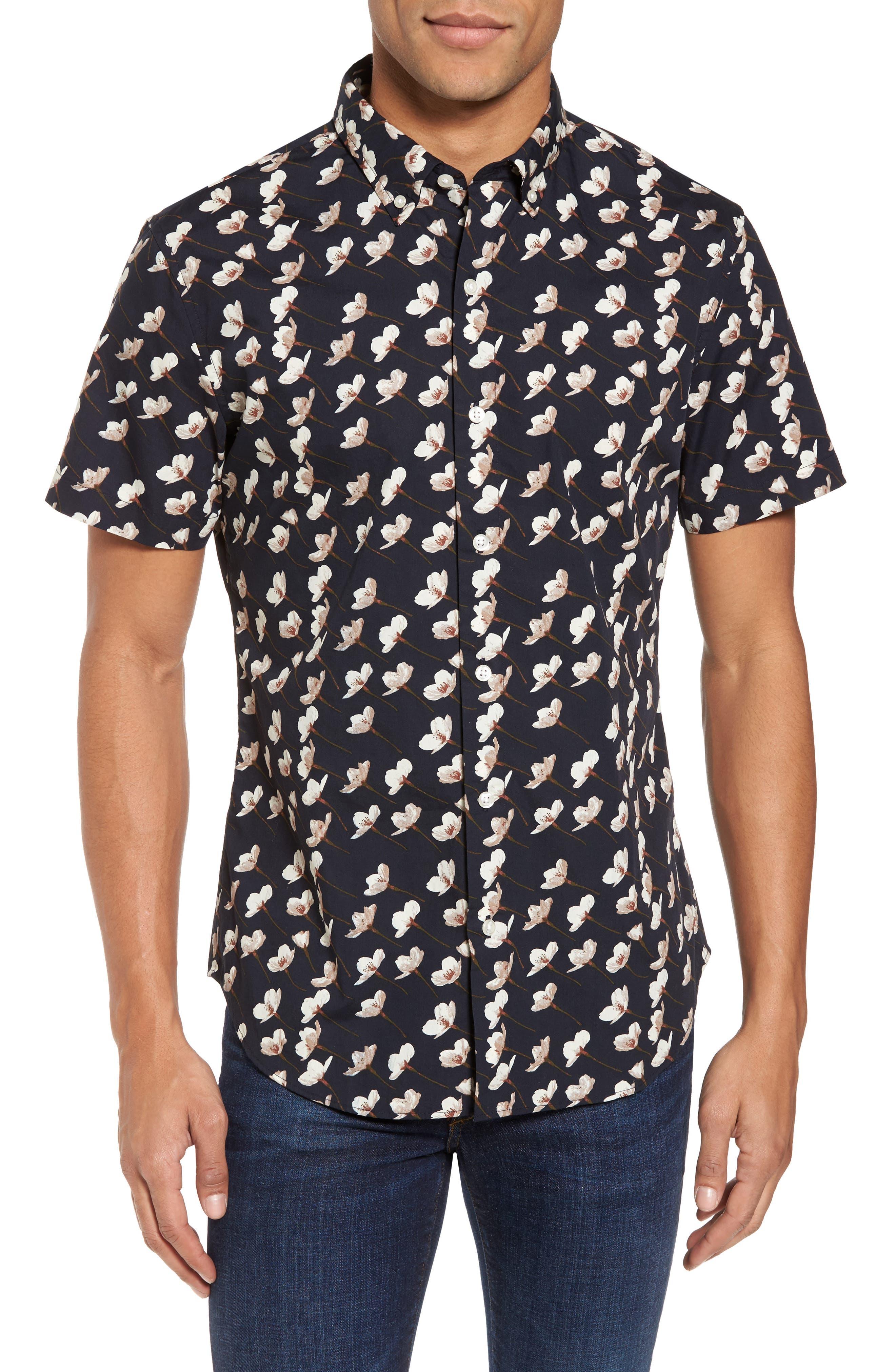 Main Image - Bonobos Slim Fit Floral Print Sport Shirt