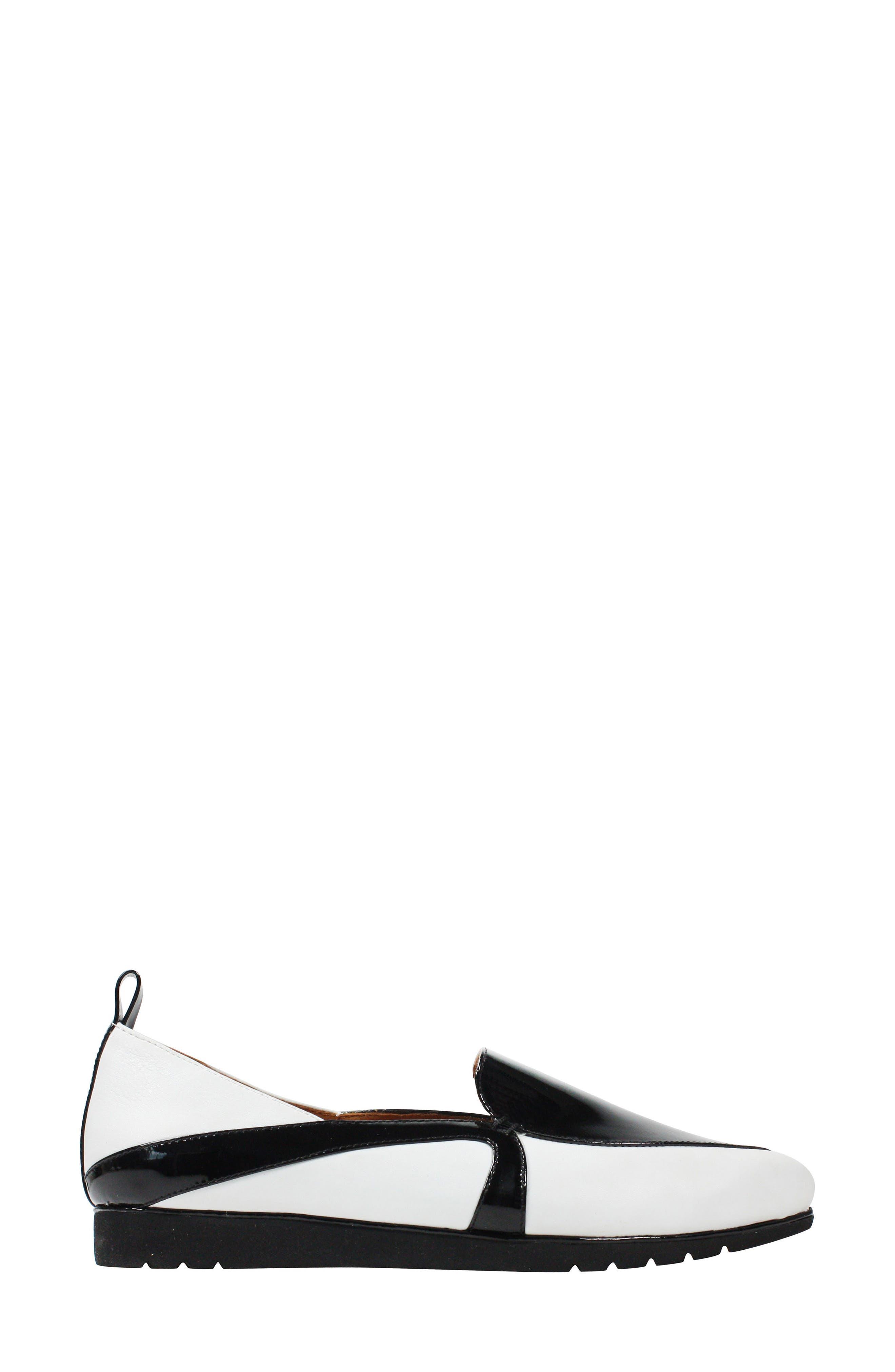 Marjolaina Loafer,                             Alternate thumbnail 3, color,                             Black/ White Patent Leather