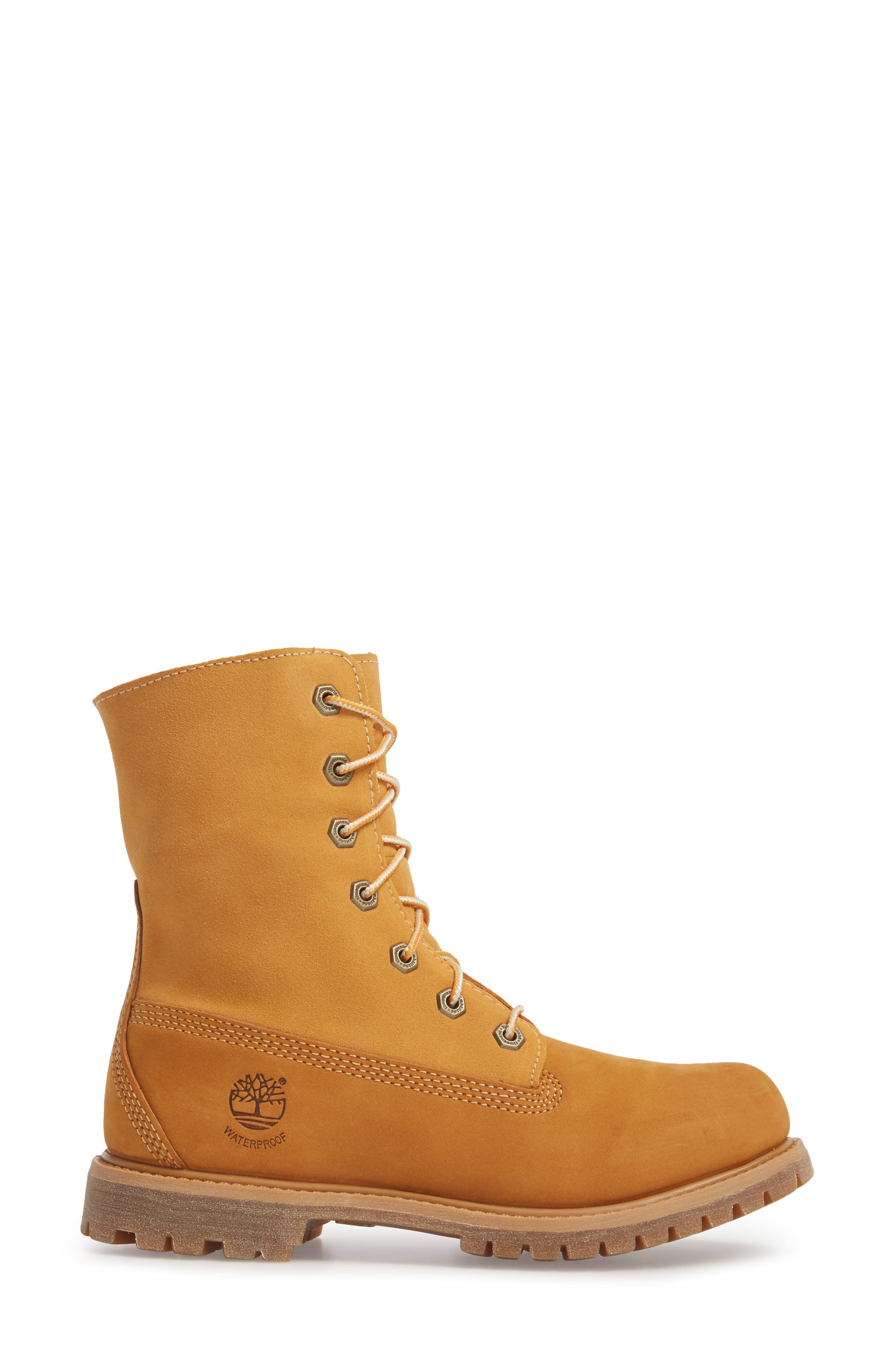 Authentic Waterproof Teddy Fleece Lined Winter Boot,                             Alternate thumbnail 3, color,                             Wheat