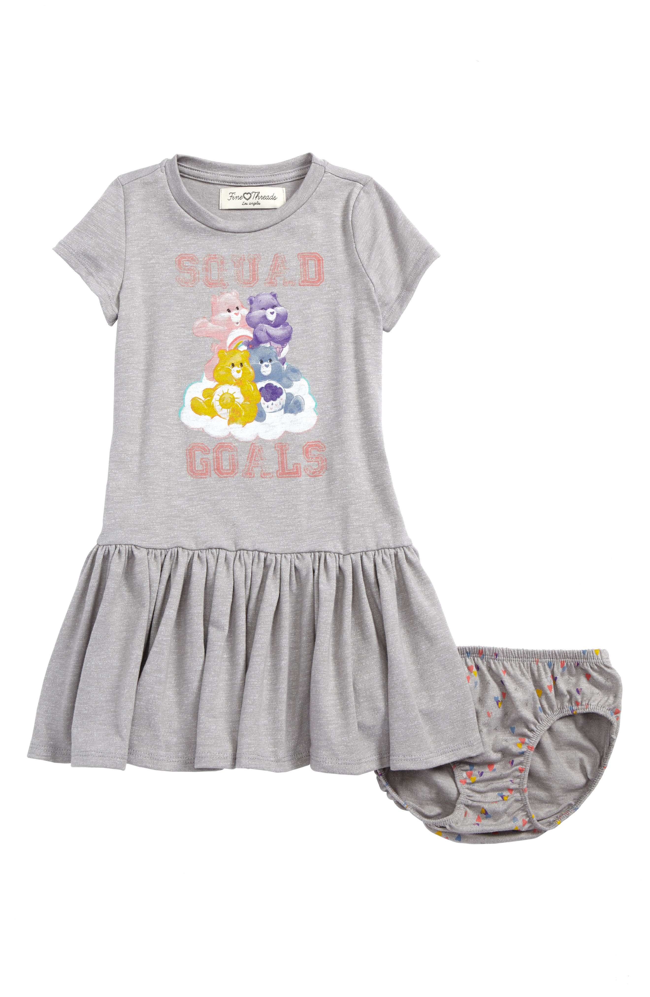 Care Bears<sup>™</sup> by Fine Threads Squad Goals Dress,                             Main thumbnail 1, color,                             Heather Gray