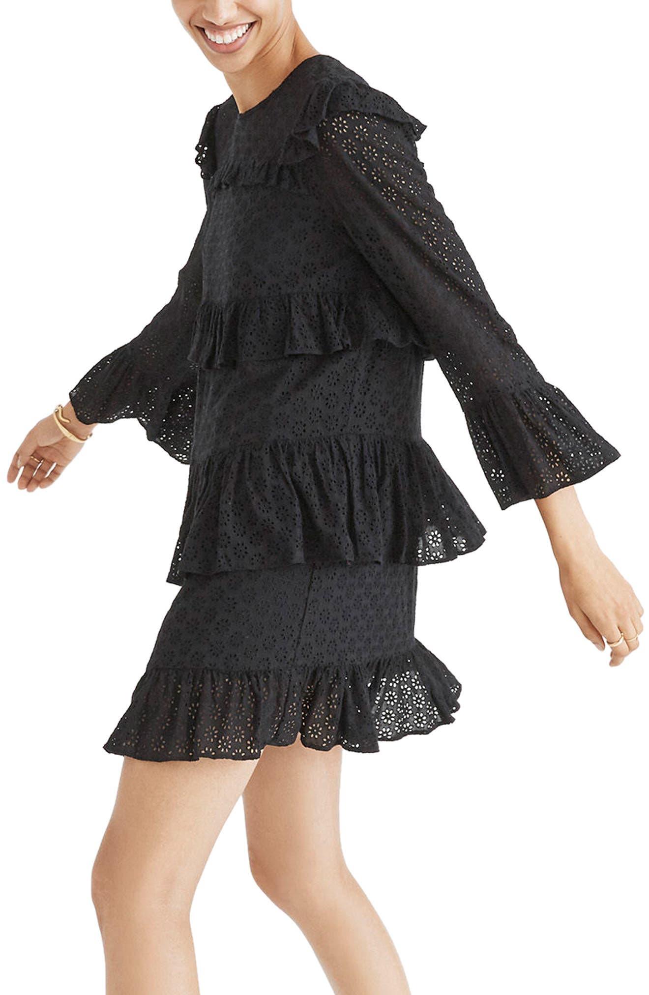 Waterlily Ruffle Eyelet Dress,                         Main,                         color, True Black