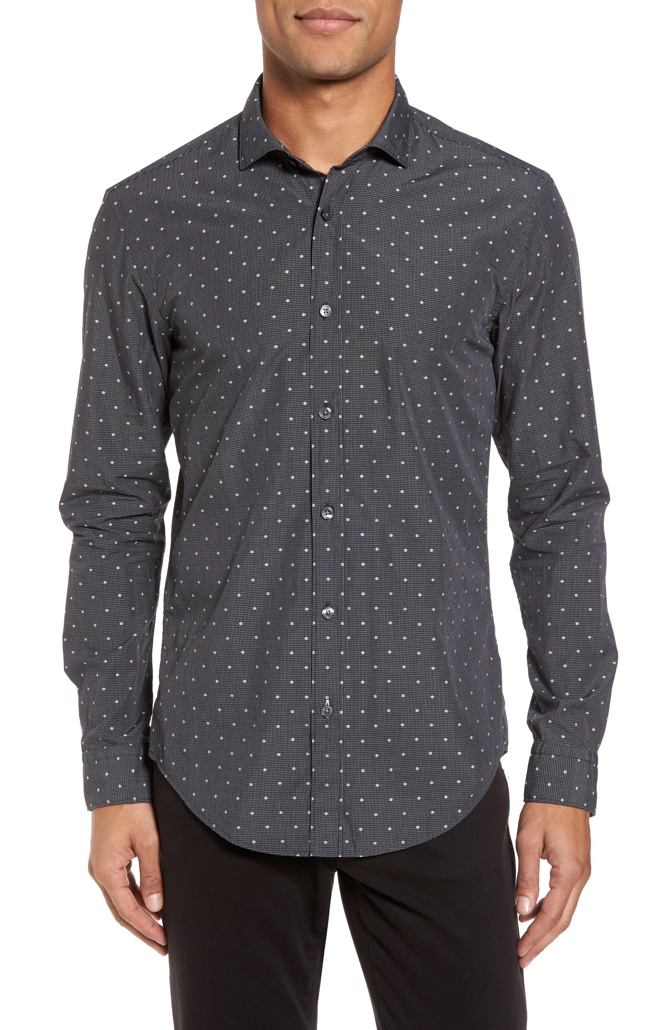 Ridley Slim Fit Dot Sport Shirt,                             Main thumbnail 1, color,                             Black
