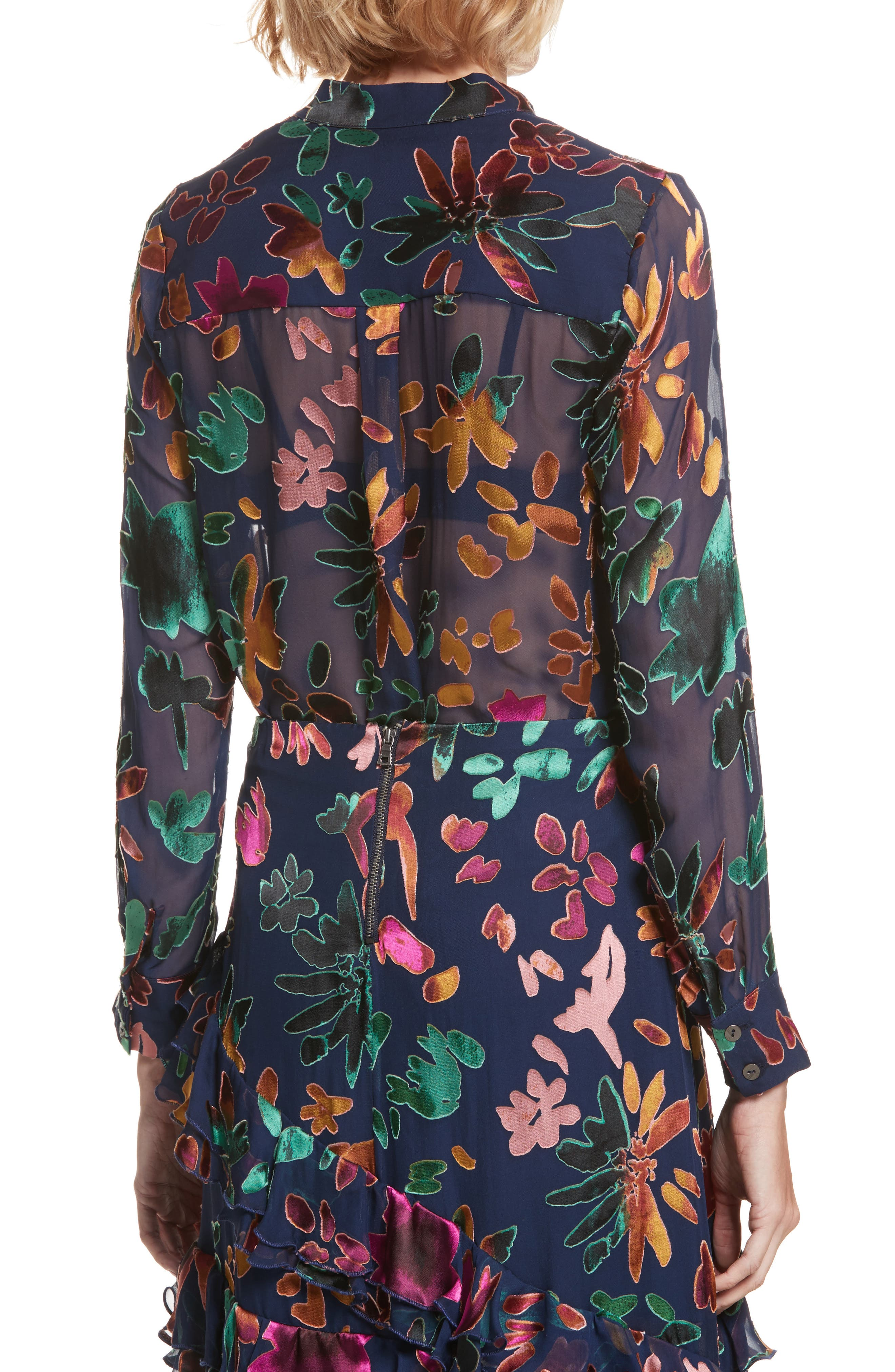 Alternate Image 2  - Alice + Olivia Amos Floral Burnout Velvet Tunic