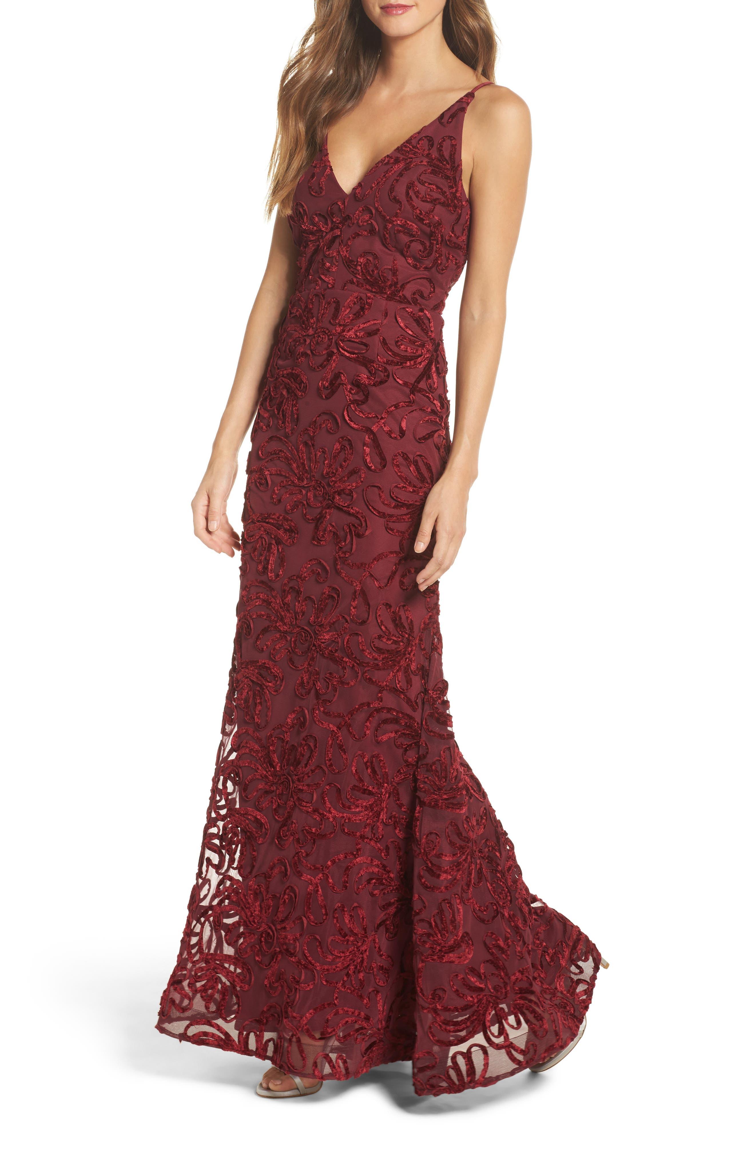 Flocked Velvet Gown,                         Main,                         color, Wine