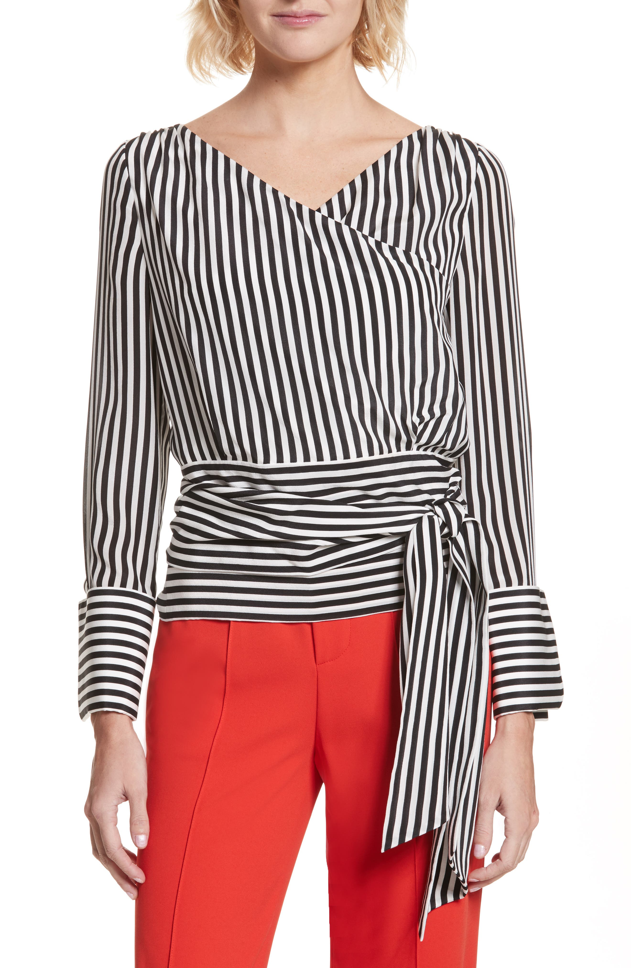 Alba Tie-Waist Silk Blouse,                         Main,                         color, Mini Stripe-Soft Cream