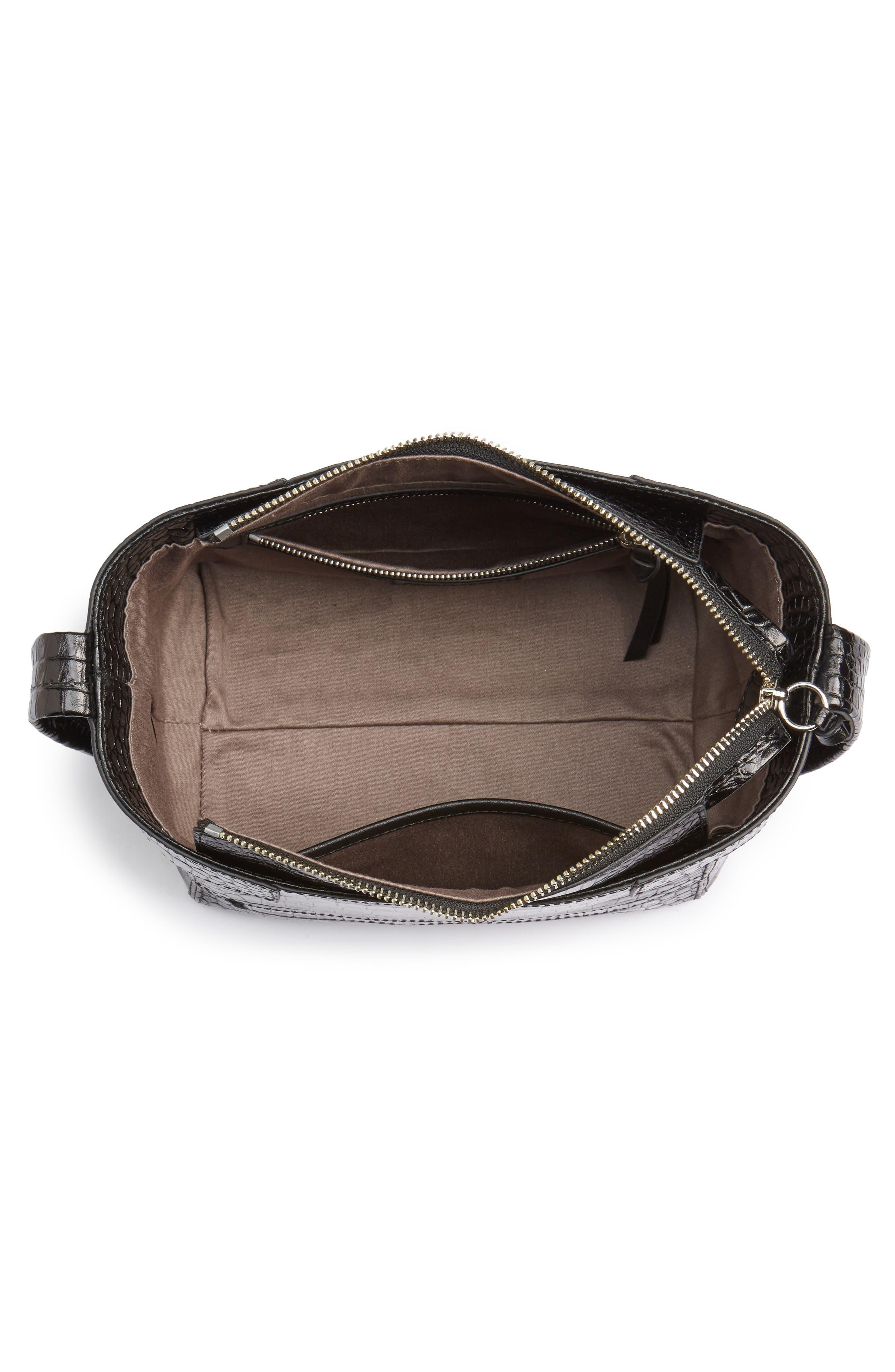 Keely Leather Crossbody Bag,                             Alternate thumbnail 4, color,                             Black