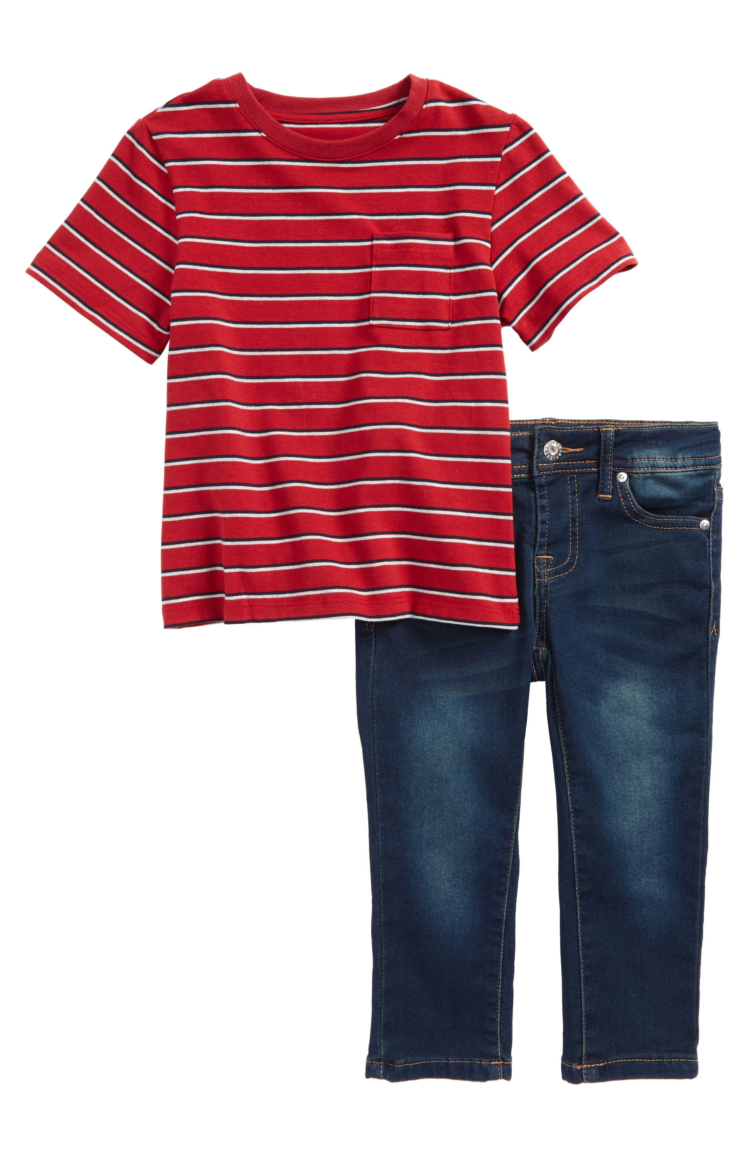 Stripe Shirt & Jeans Set,                             Main thumbnail 1, color,                             Pacific Wash