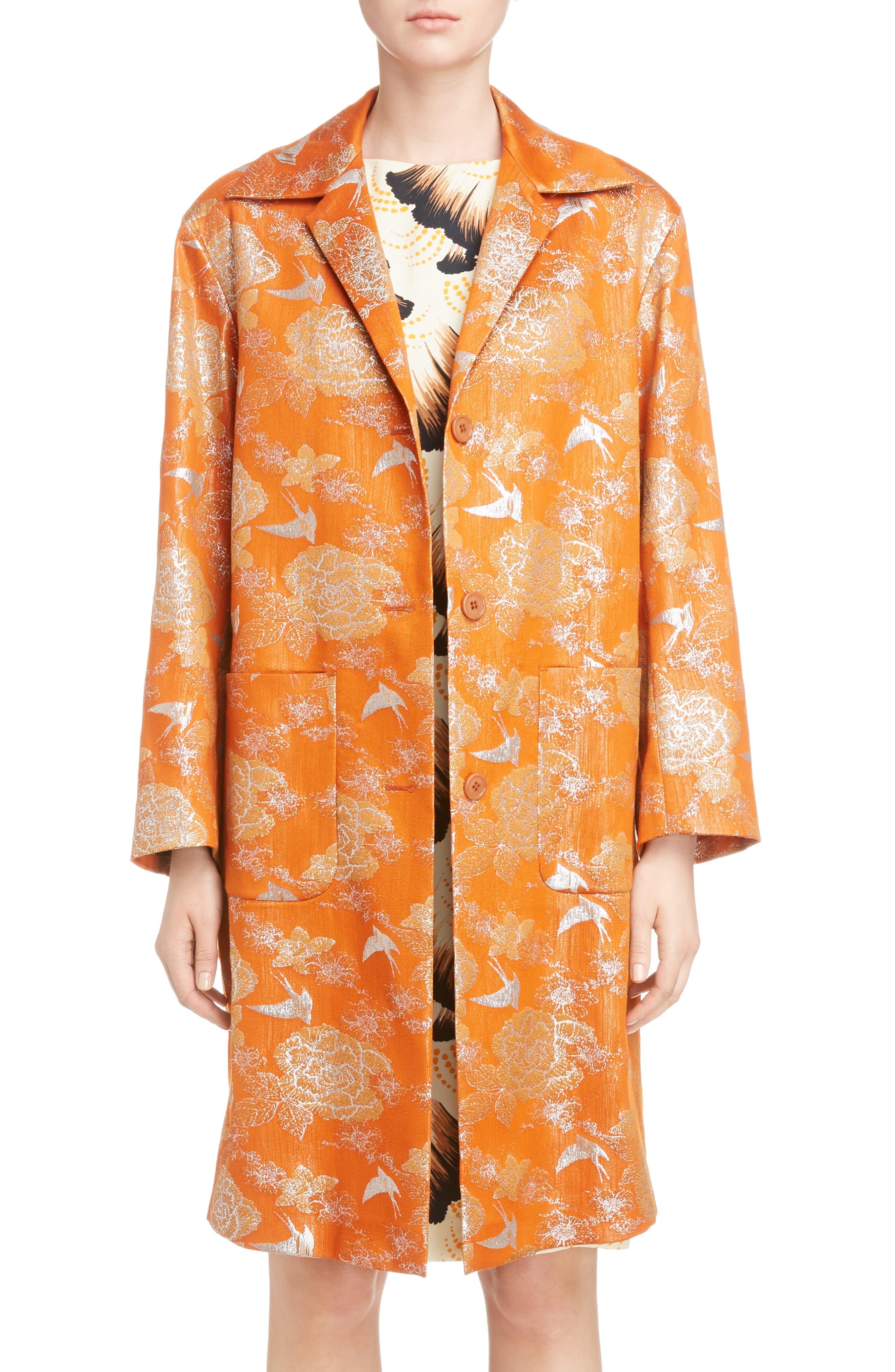 Silver Bird Jacquard Coat,                         Main,                         color, Orange