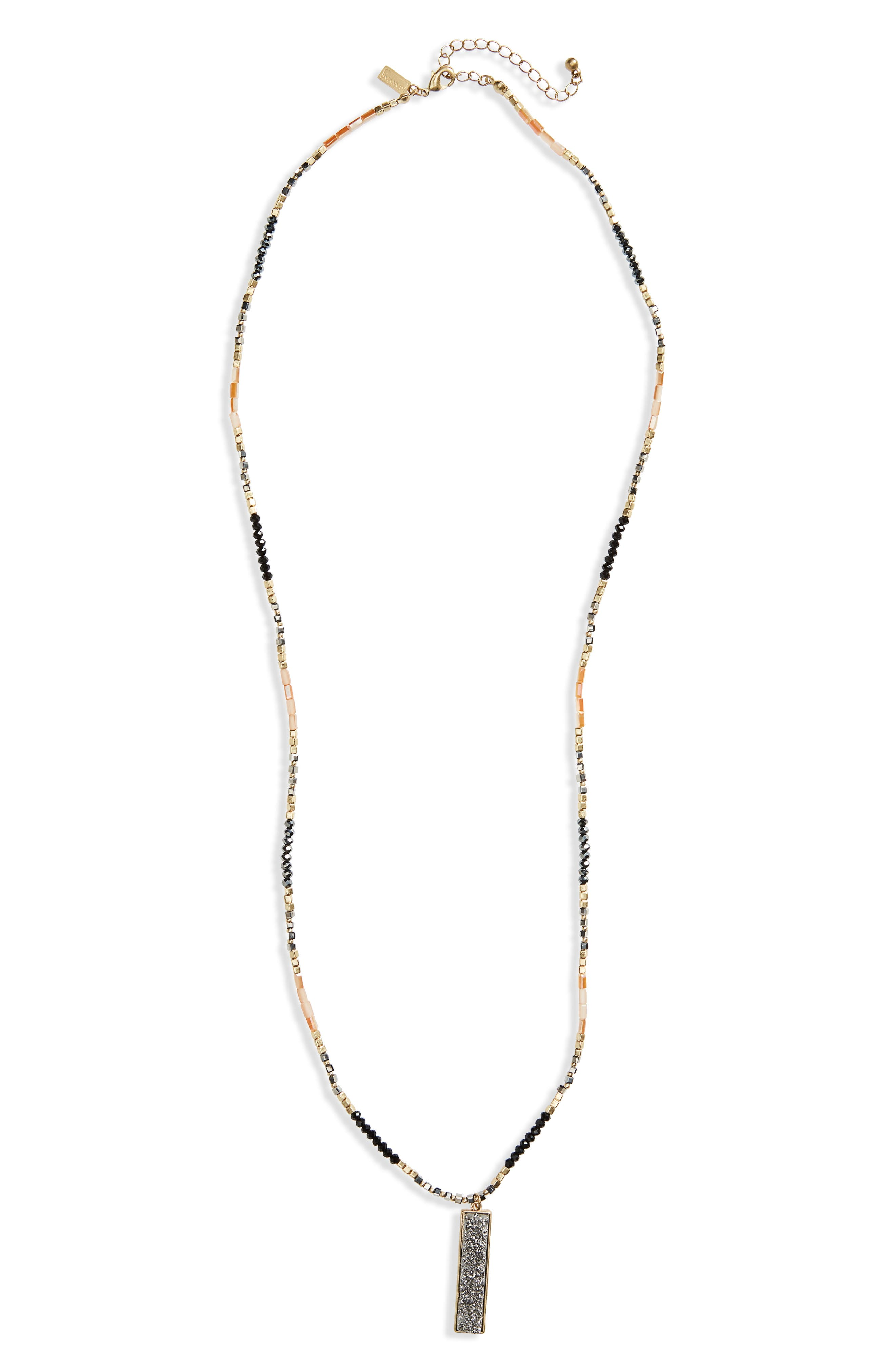 Canvas Beaded Rectangle Pendant Necklace