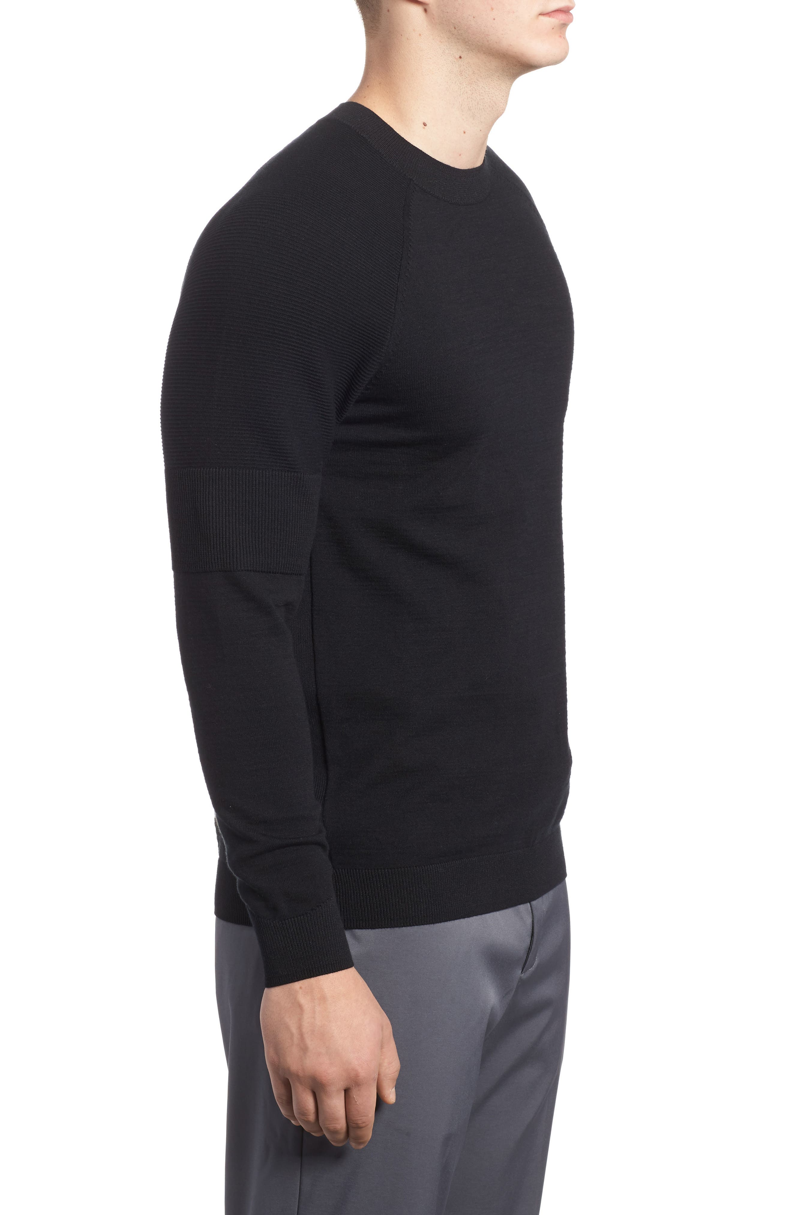TW Cotton Blend Sweatshirt,                             Alternate thumbnail 3, color,                             Black/ Black